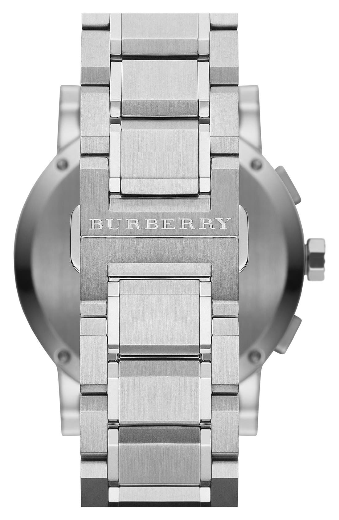 Alternate Image 2  - Burberry Check Stamped Chronograph Bracelet Watch, 42mm