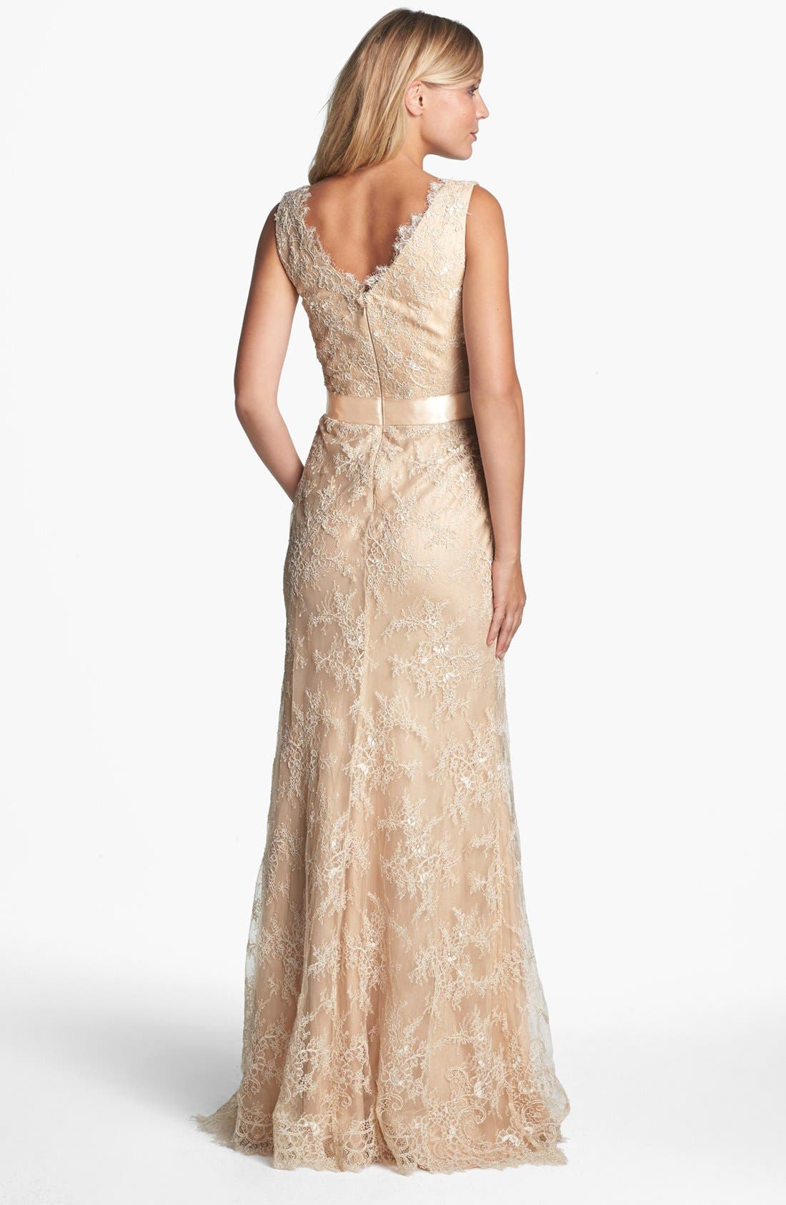 Alternate Image 2  - La Femme Embellished Sleeveless Lace Gown