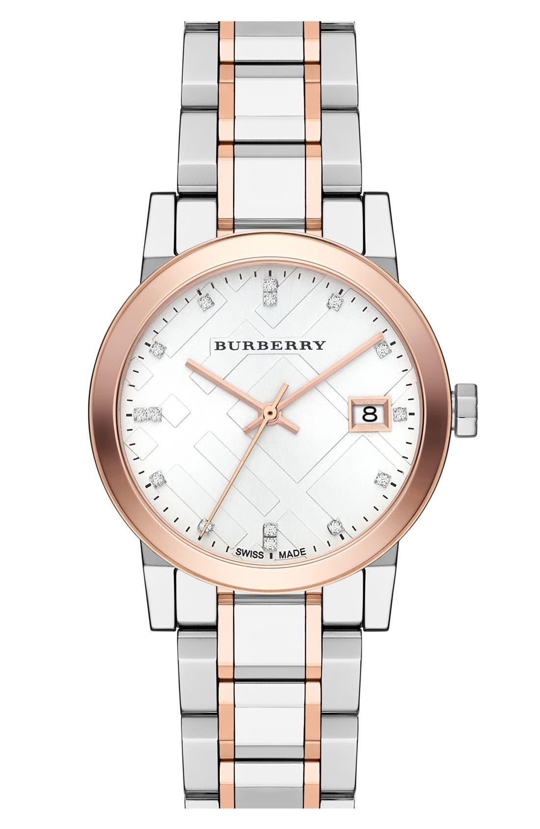 Main Image - Burberry Diamond Dial Bracelet Watch, 34mm