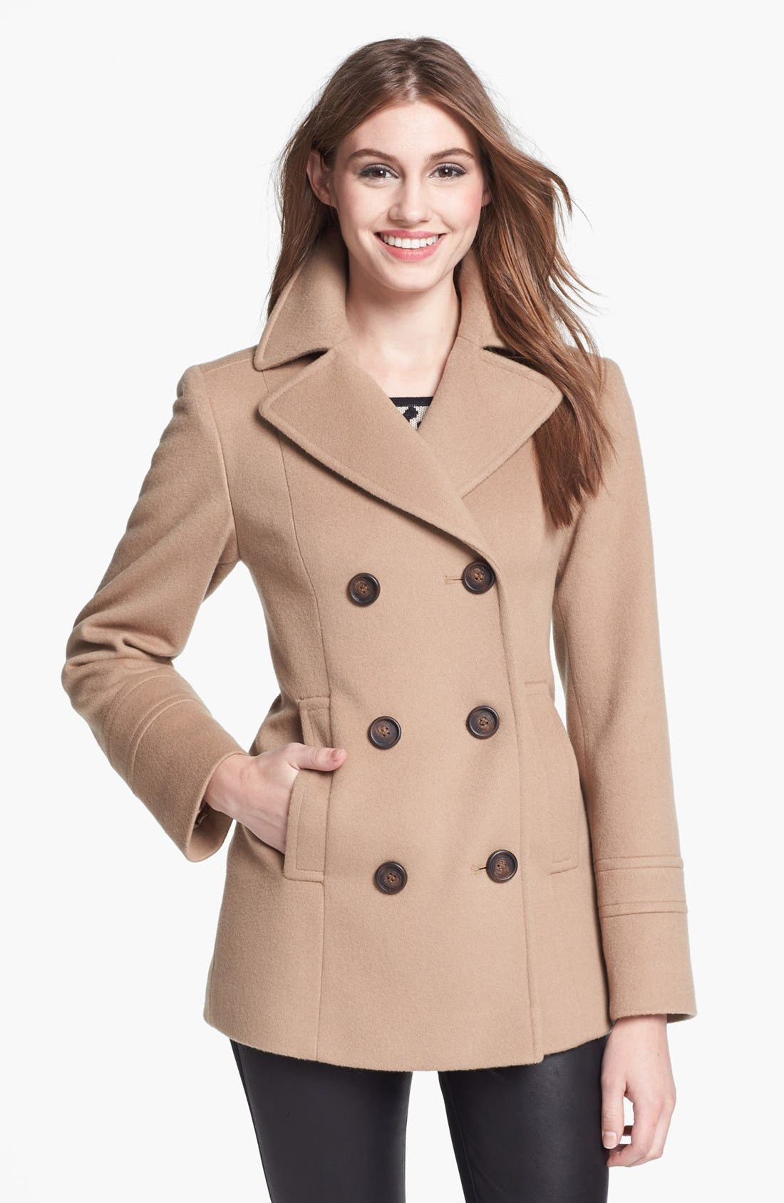 Main Image - Fleurette Double Breasted Wool Peacoat