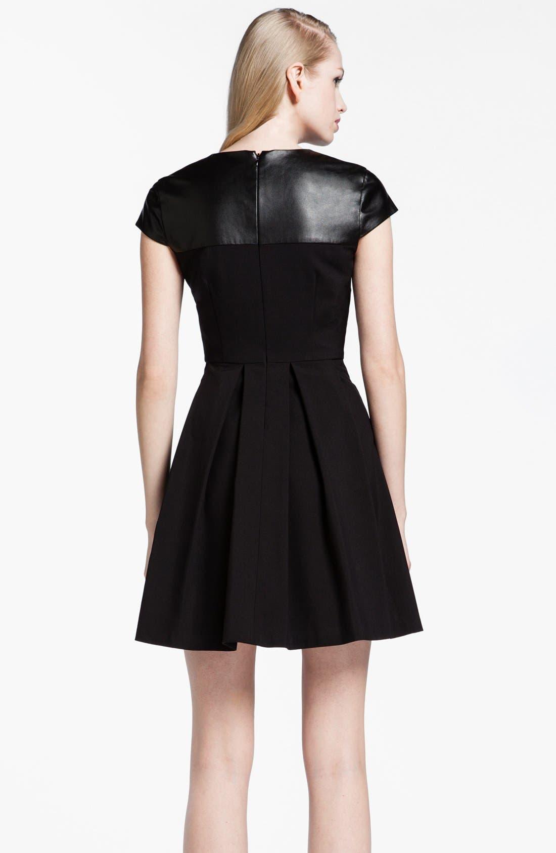 Alternate Image 2  - Cynthia Steffe 'Jade' Faux Leather Yoke Fit & Flare Dress