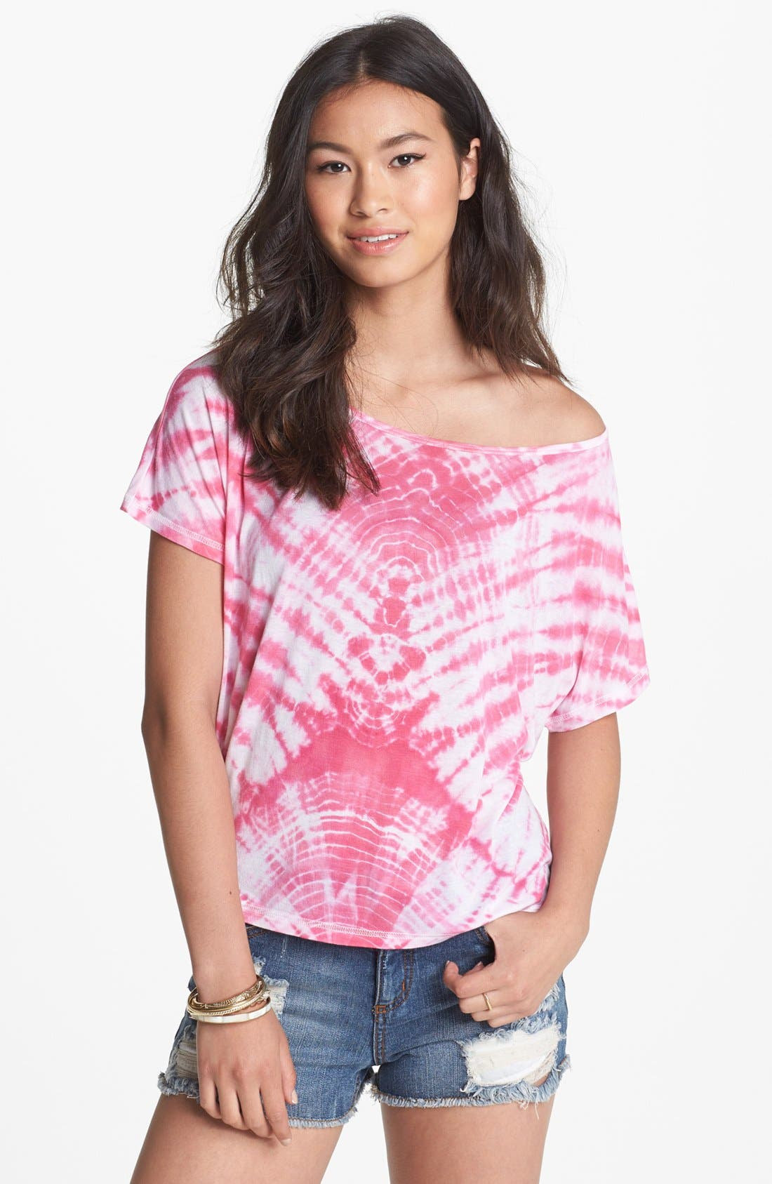 Alternate Image 1 Selected - BP. Tie Dye Wide Neck Tee (Juniors)