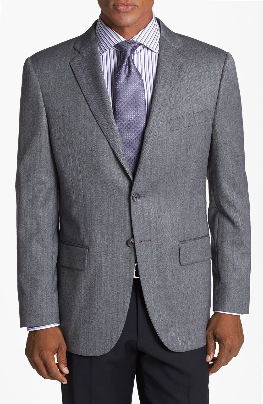 'Profile/Hybrid' Trim Fit Herringbone Sportcoat,                             Main thumbnail 1, color,                             Grey Tonal Herringbone