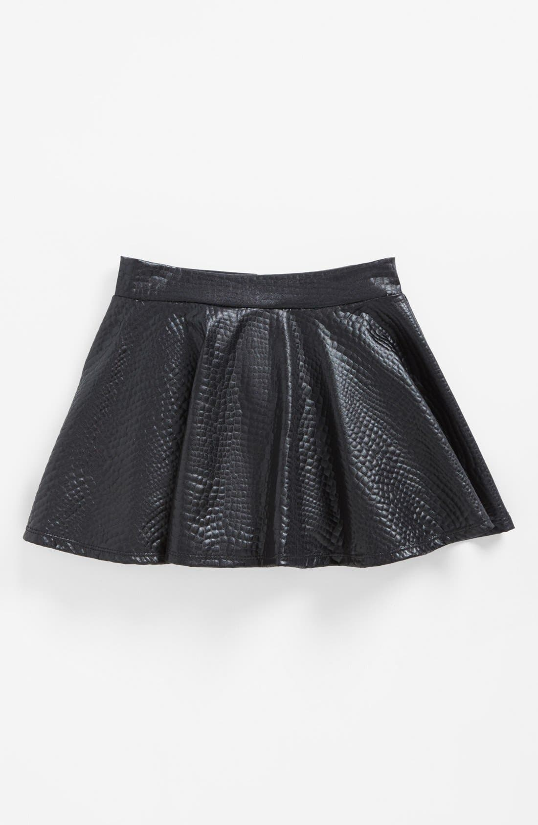 Main Image - Flowers by Zoe Faux Leather Skirt (Big Girls) (Online Only)