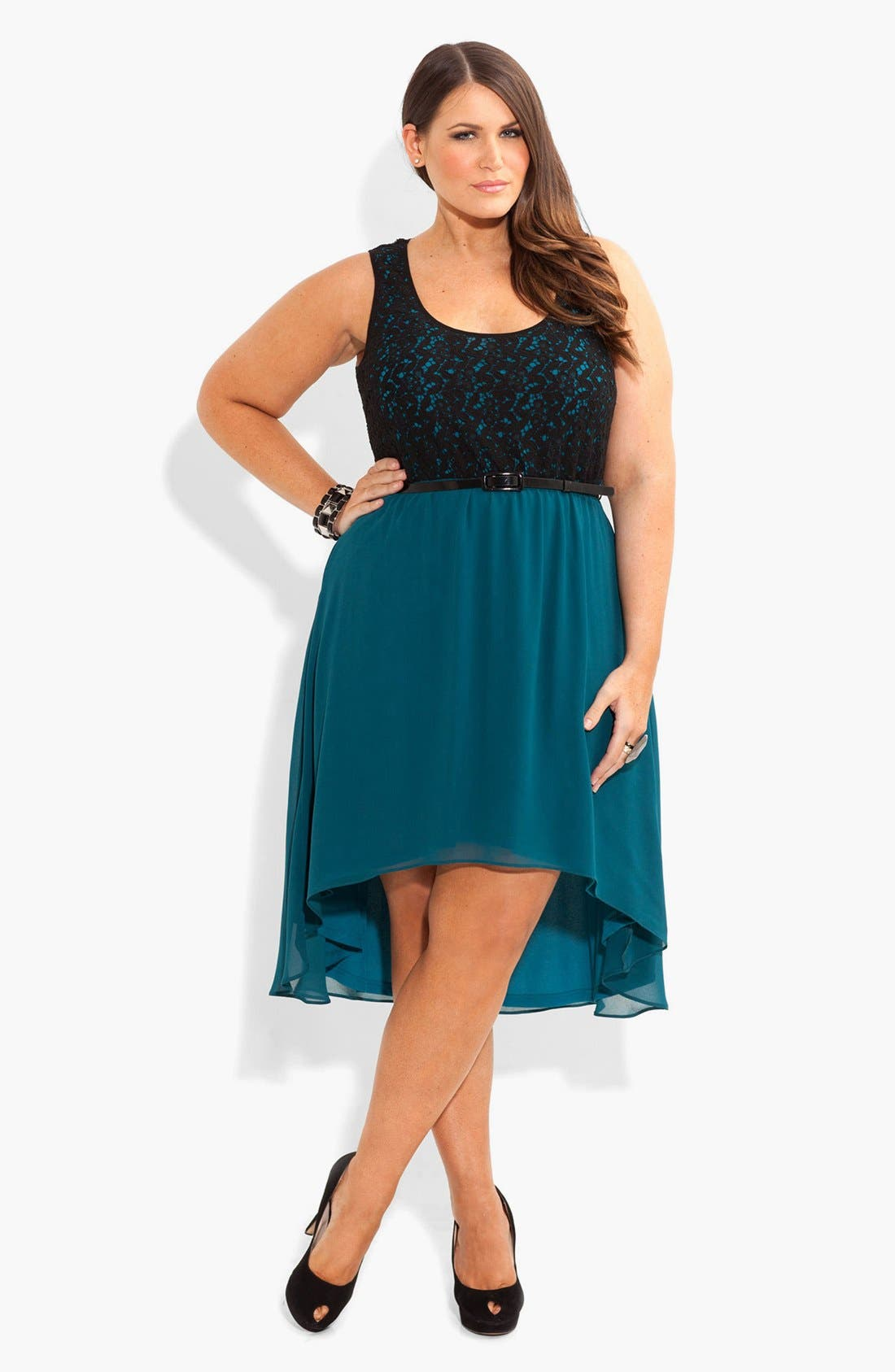 Alternate Image 1 Selected - City Chic High/Low Mixed Media Dress (Plus Size)