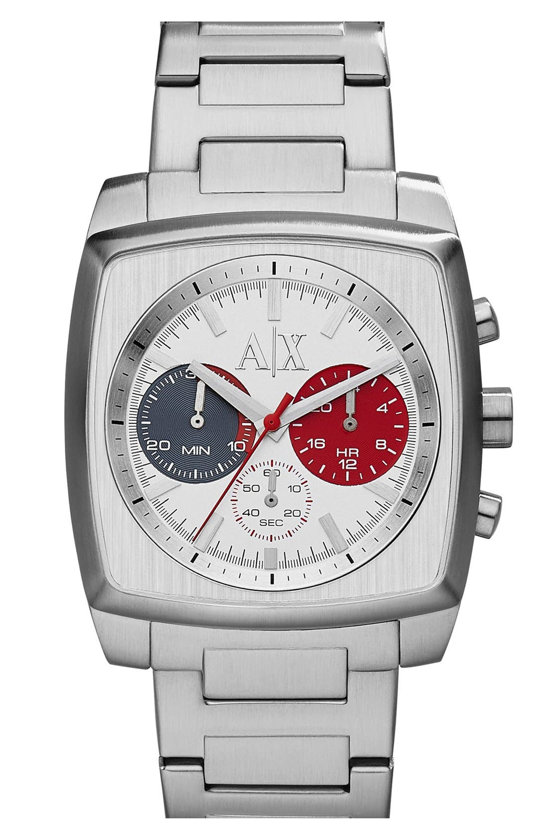 Main Image - AX Armani Exchange Square Chronograph Bracelet Watch, 40mm