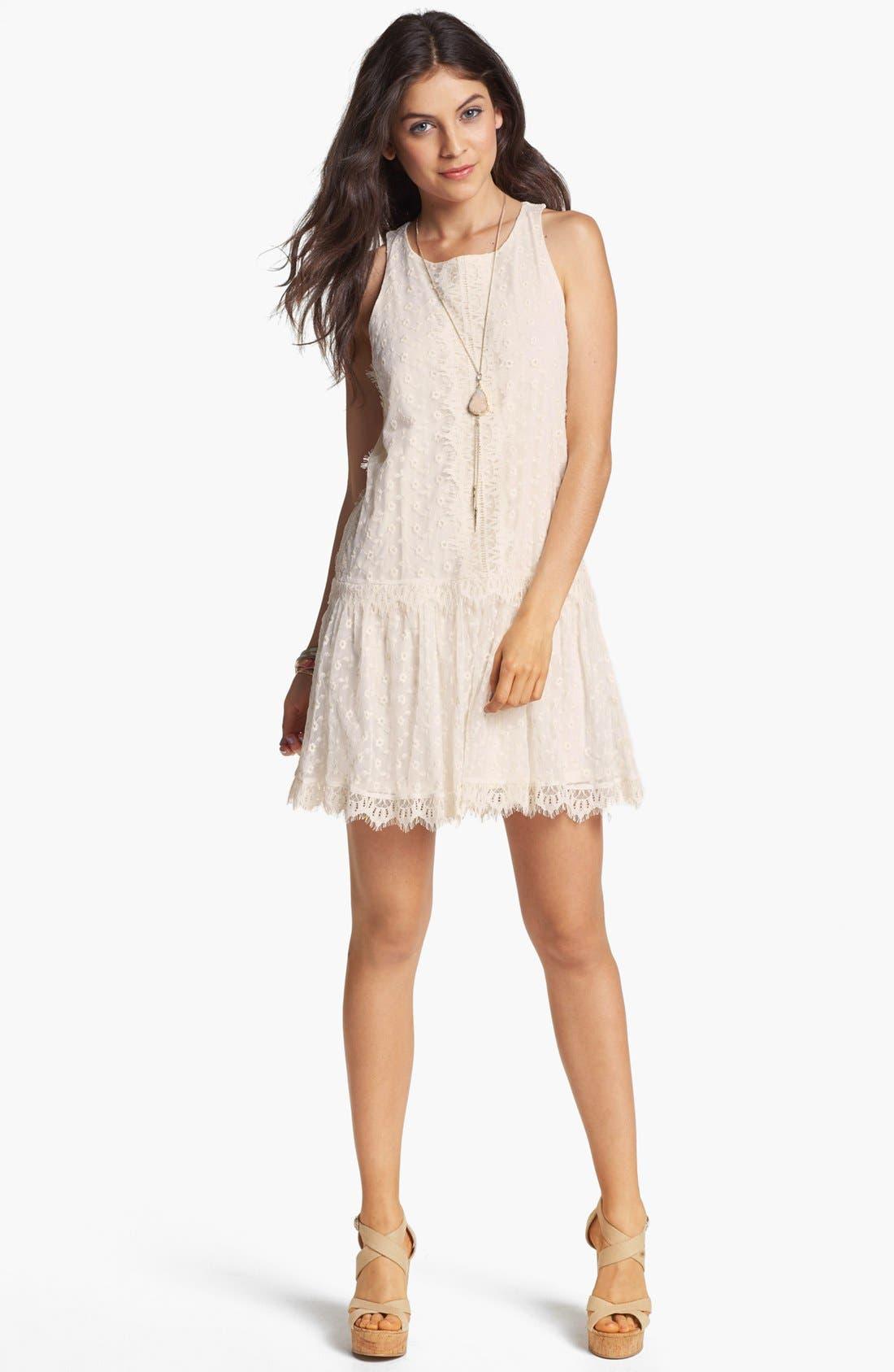 Main Image - Fire Drop Waist Lace Dress (Juniors)