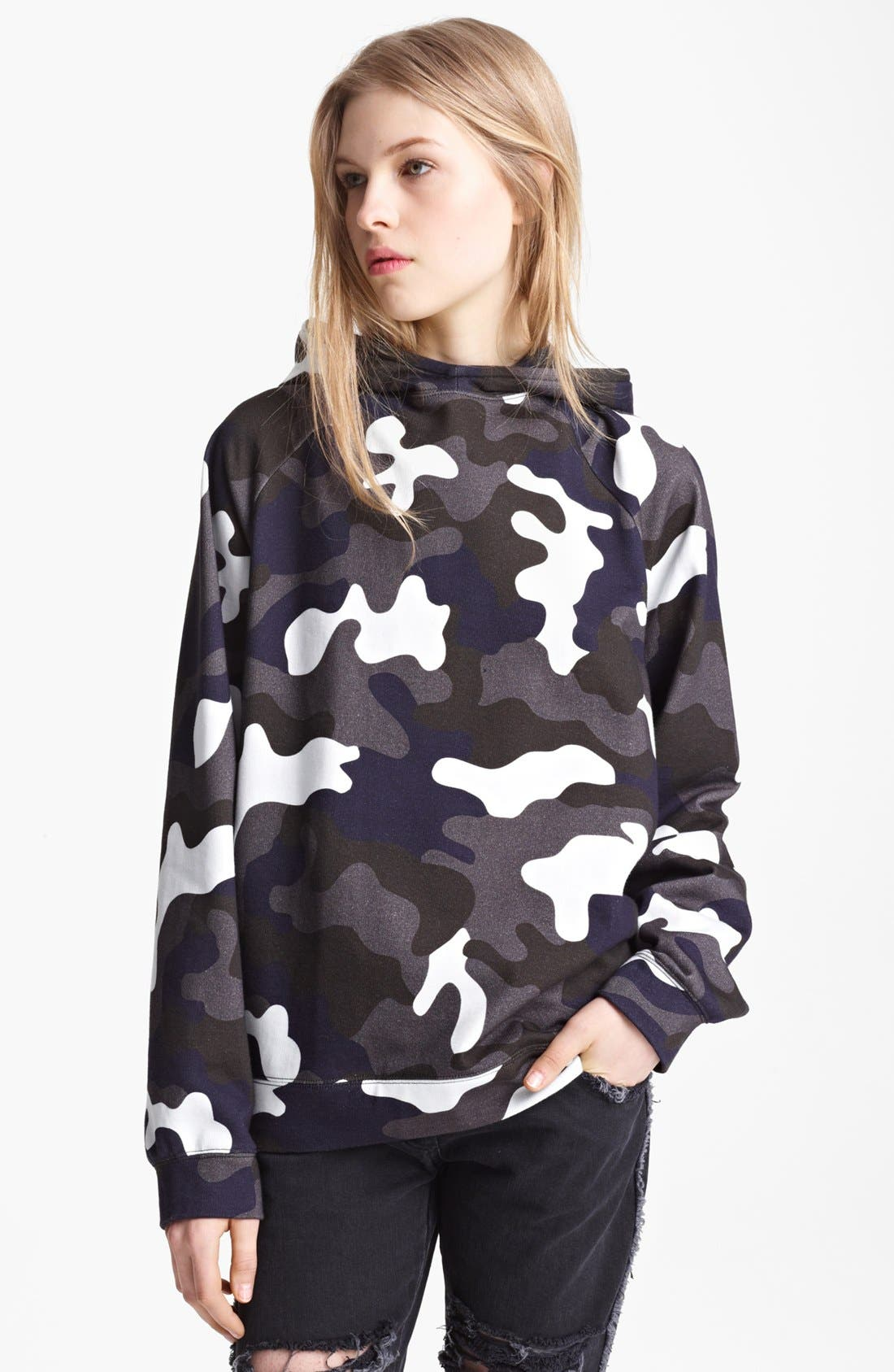Camo Print Oversized Hoodie,                         Main,                         color, Grey