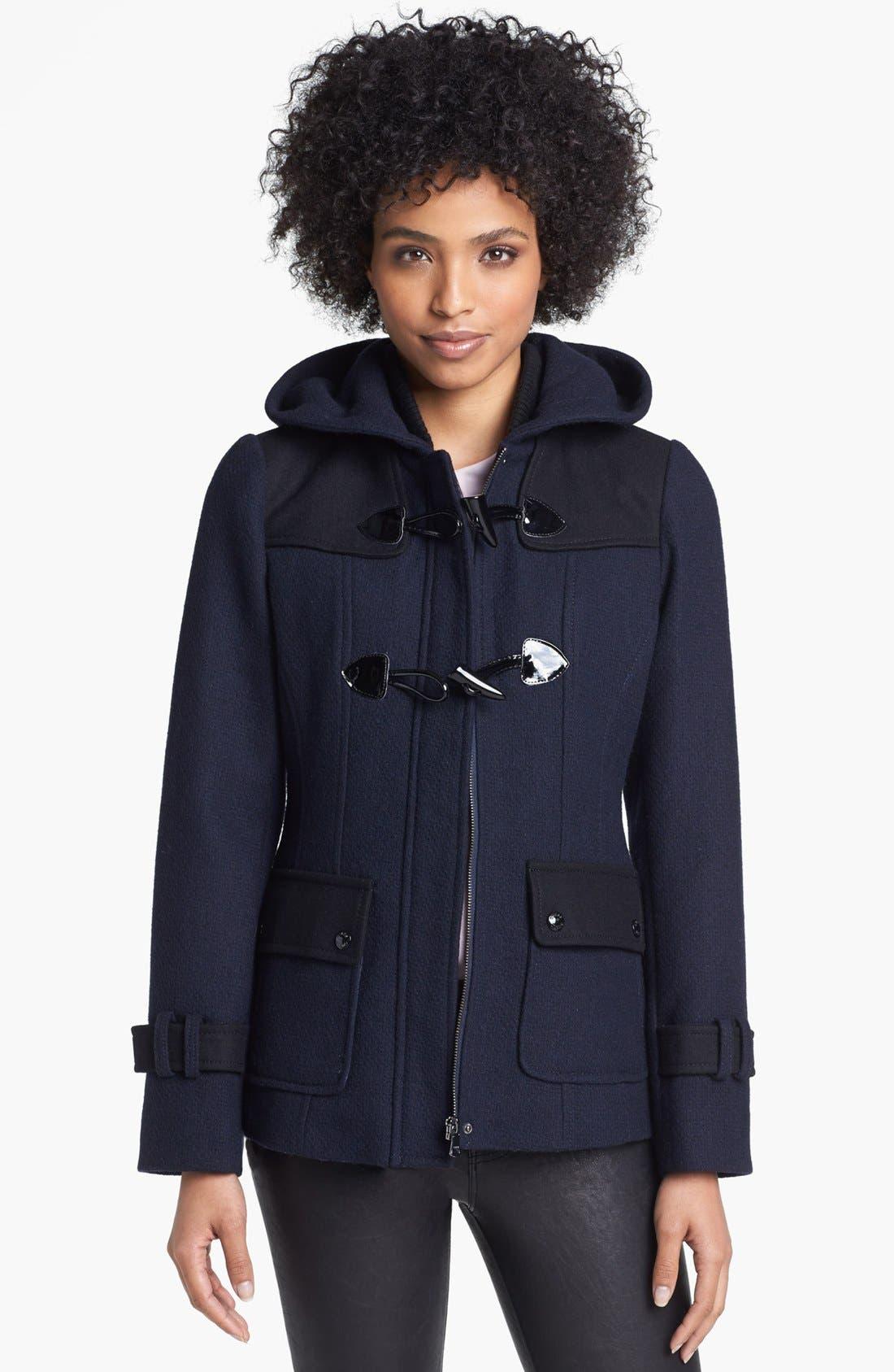 Alternate Image 1 Selected - GUESS Colorblock Toggle Duffle Coat