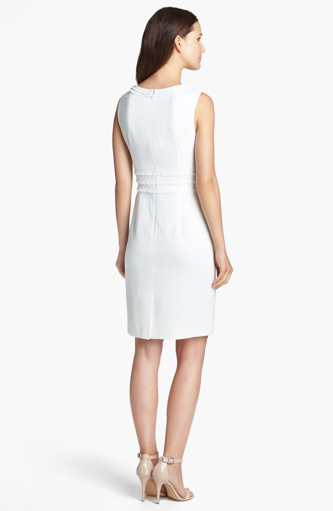 Alternate Image 2  - Tahari Jacquard Fringe Trim Sheath Dress
