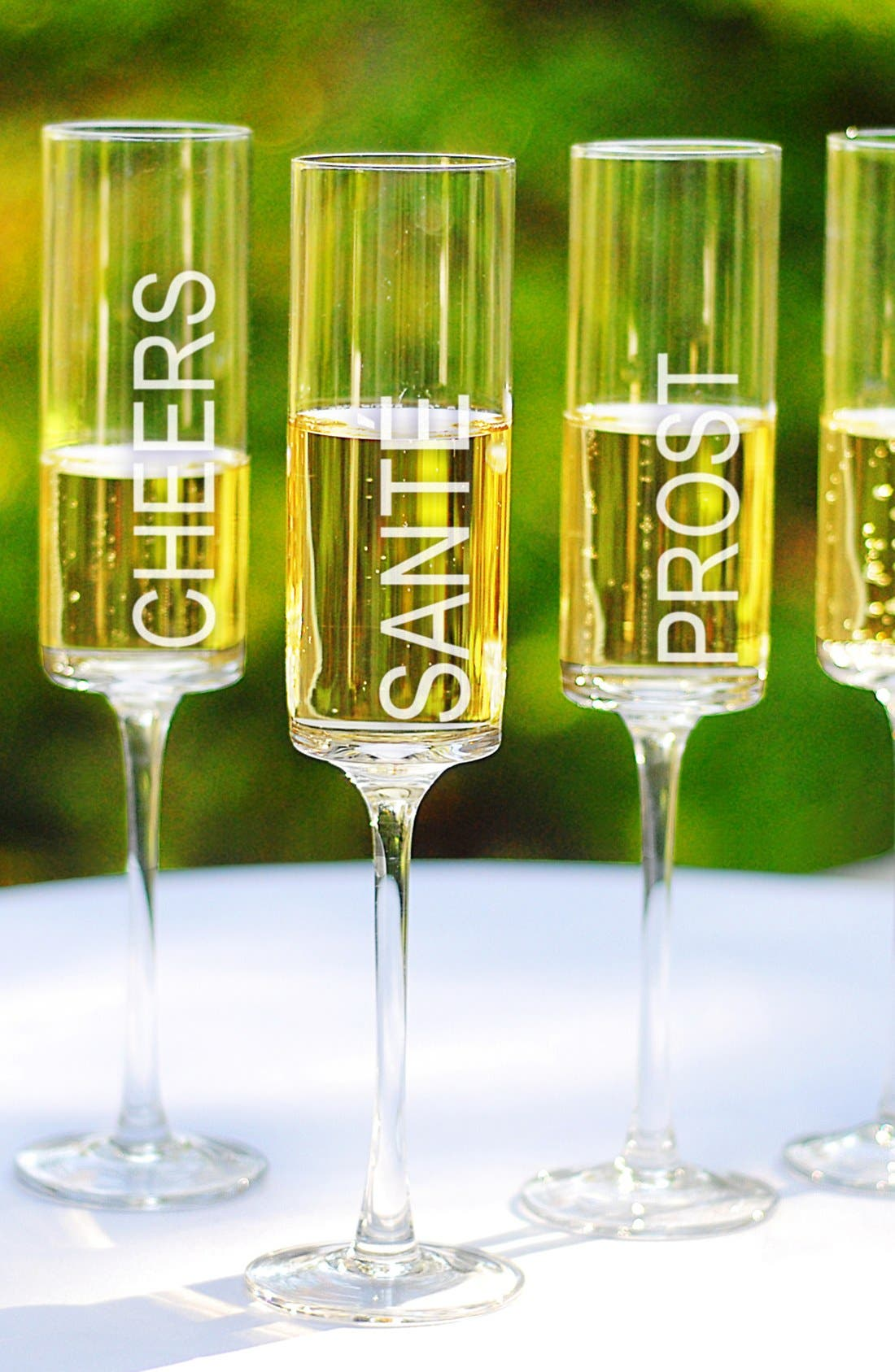 'Cheers!' Contemporary Champagne Flutes,                             Main thumbnail 1, color,                             No Color
