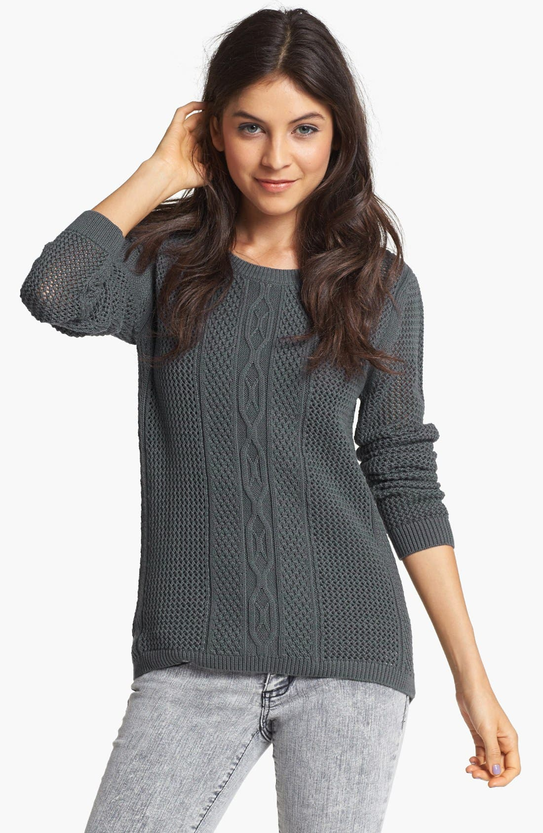 Alternate Image 1 Selected - Rubbish® Cable Knit Sweater (Juniors)