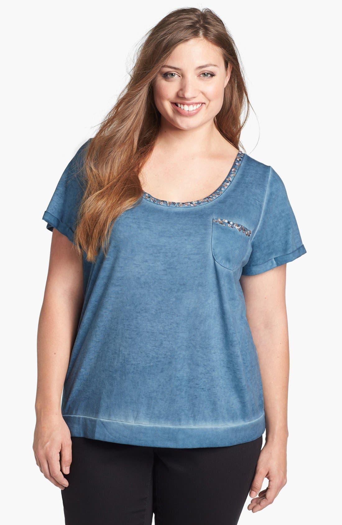 Main Image - Jessica Simpson 'Mona' Embellished Tee (Plus Size)
