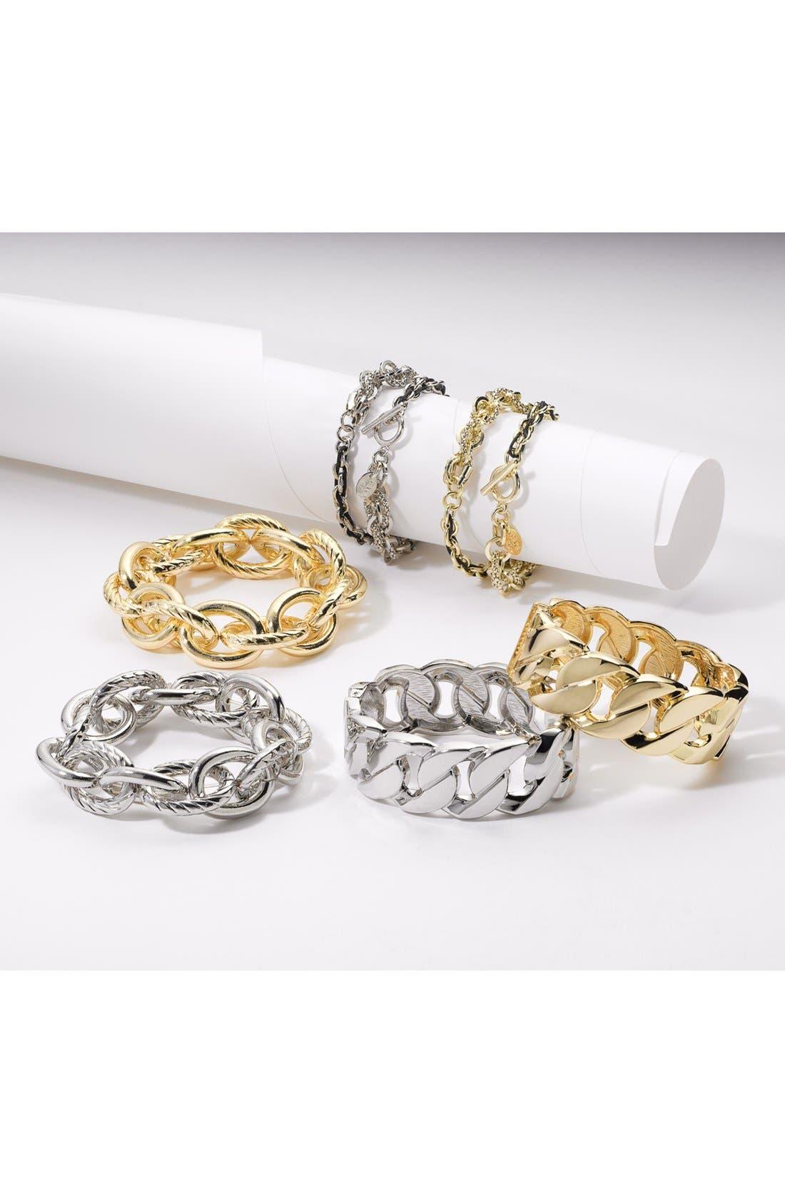 Alternate Image 5  - Cara Link & Leather Double Wrap Bracelet