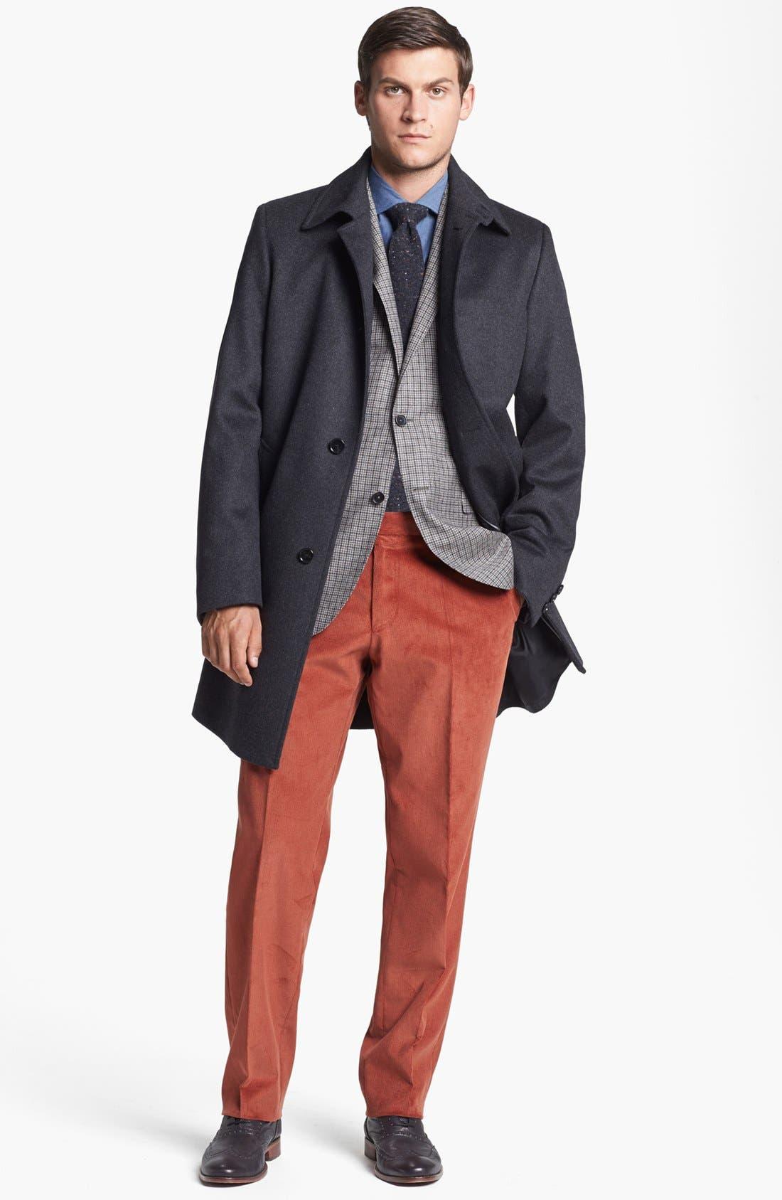 Solid Wool Blend Skinny Tie,                             Alternate thumbnail 3, color,                             Black