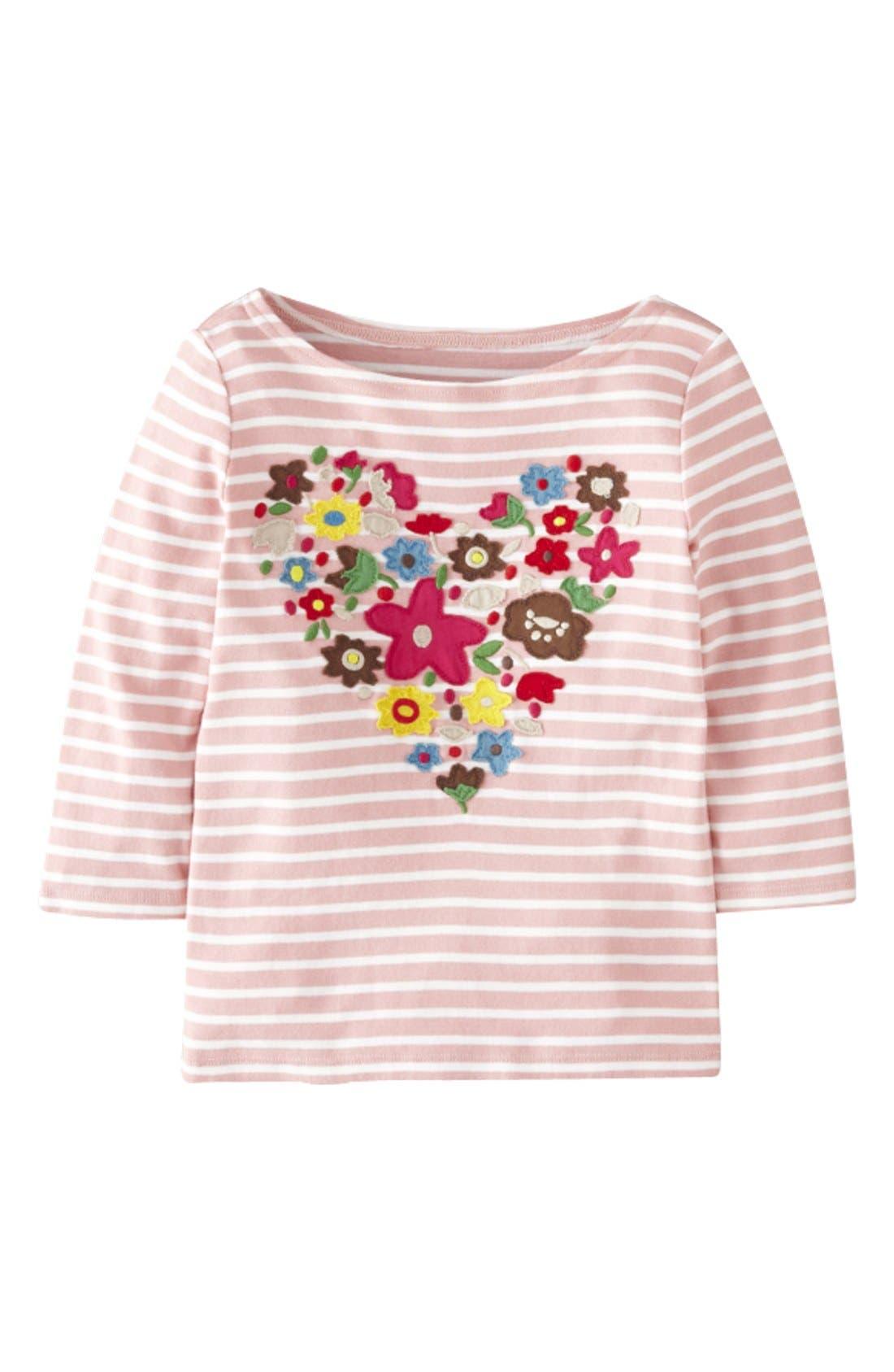 Main Image - Mini Boden 'Big Bloom' Appliqué Tee (Toddler Girls, Little Girls & Big Girls)