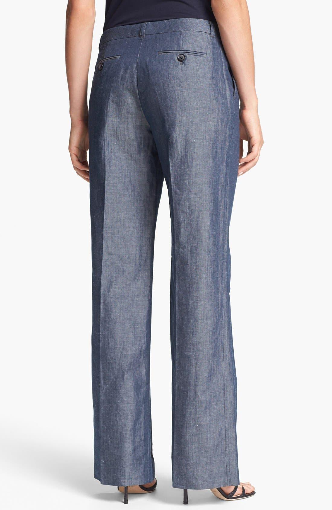 Alternate Image 3  - Adrianna Papell Wide Leg Chambray Pants