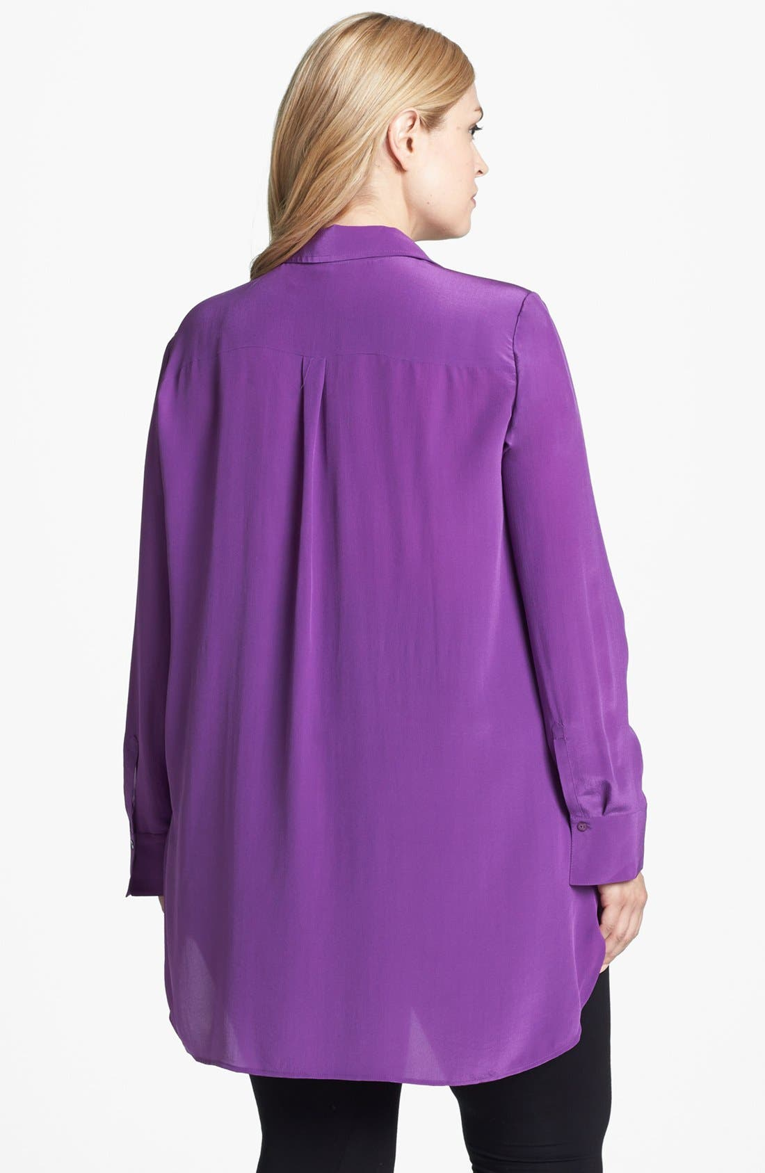 Alternate Image 2  - Eileen Fisher Side Slit Silk Tunic (Plus Size)