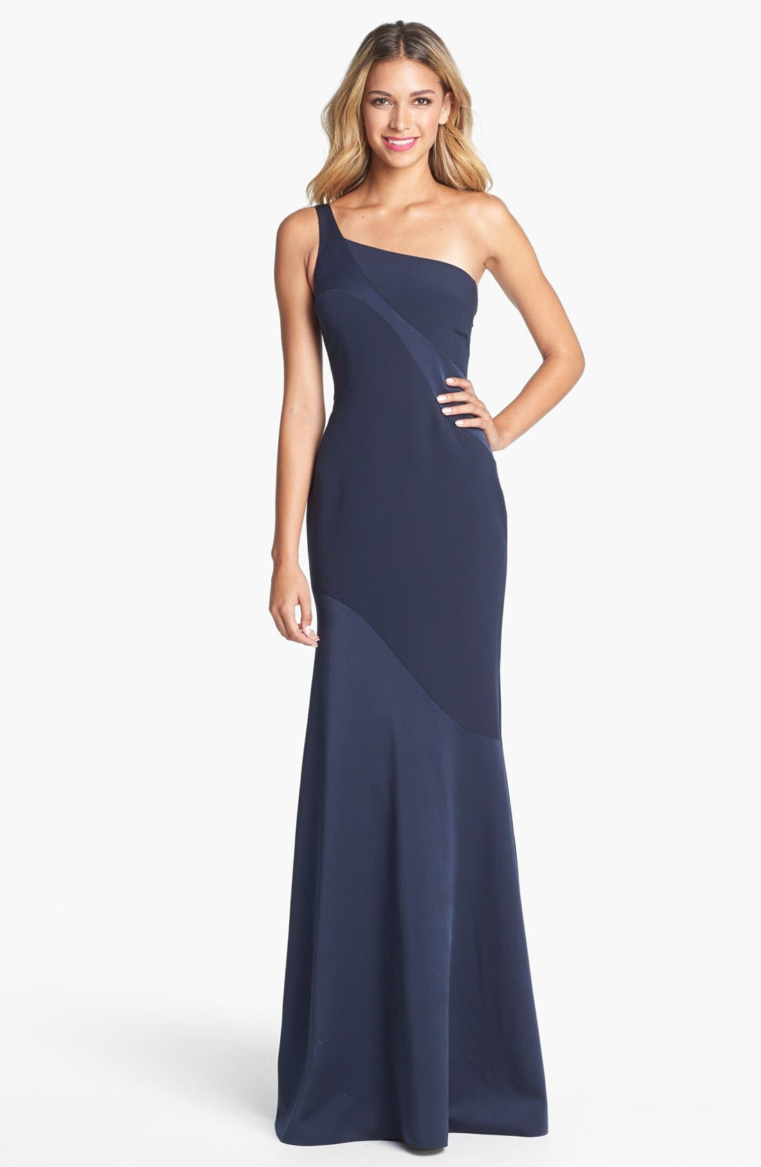 Alternate Image 1 Selected - David Meister One Shoulder Gown