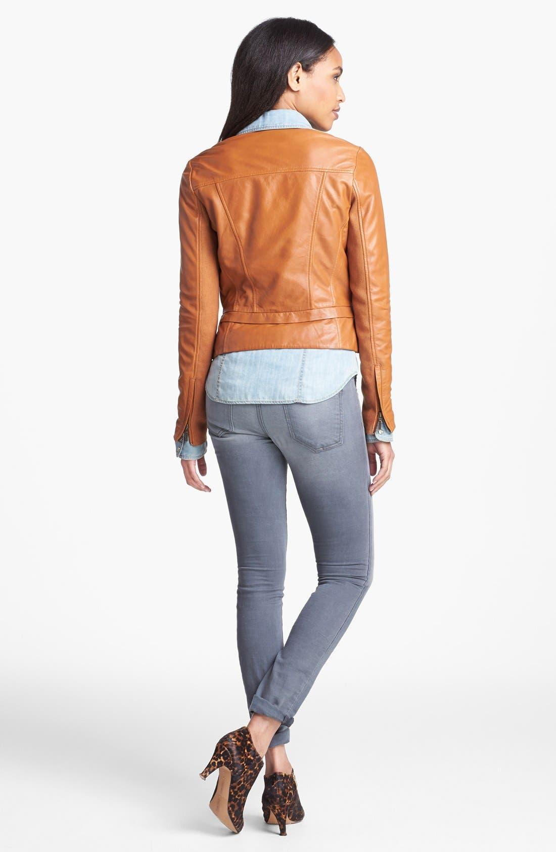 Alternate Image 3  - Halogen® Seamed Leather Jacket