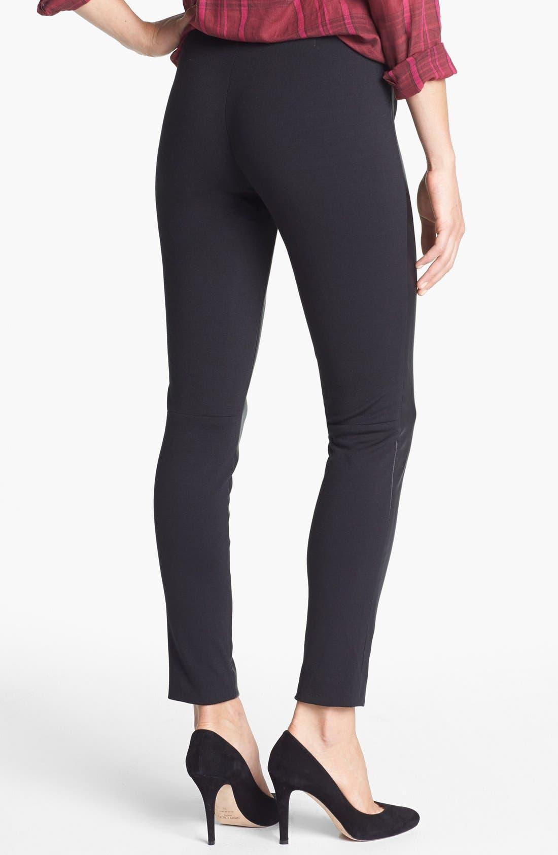 Alternate Image 2  - Halogen® Faux Leather & Ponte Pants (Regular & Petite)