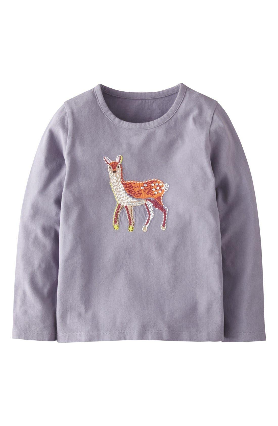Main Image - Mini Boden 'Woodland' Appliqué Long Sleeve Tee (Toddler Girls, Little Girls & Big Girls)