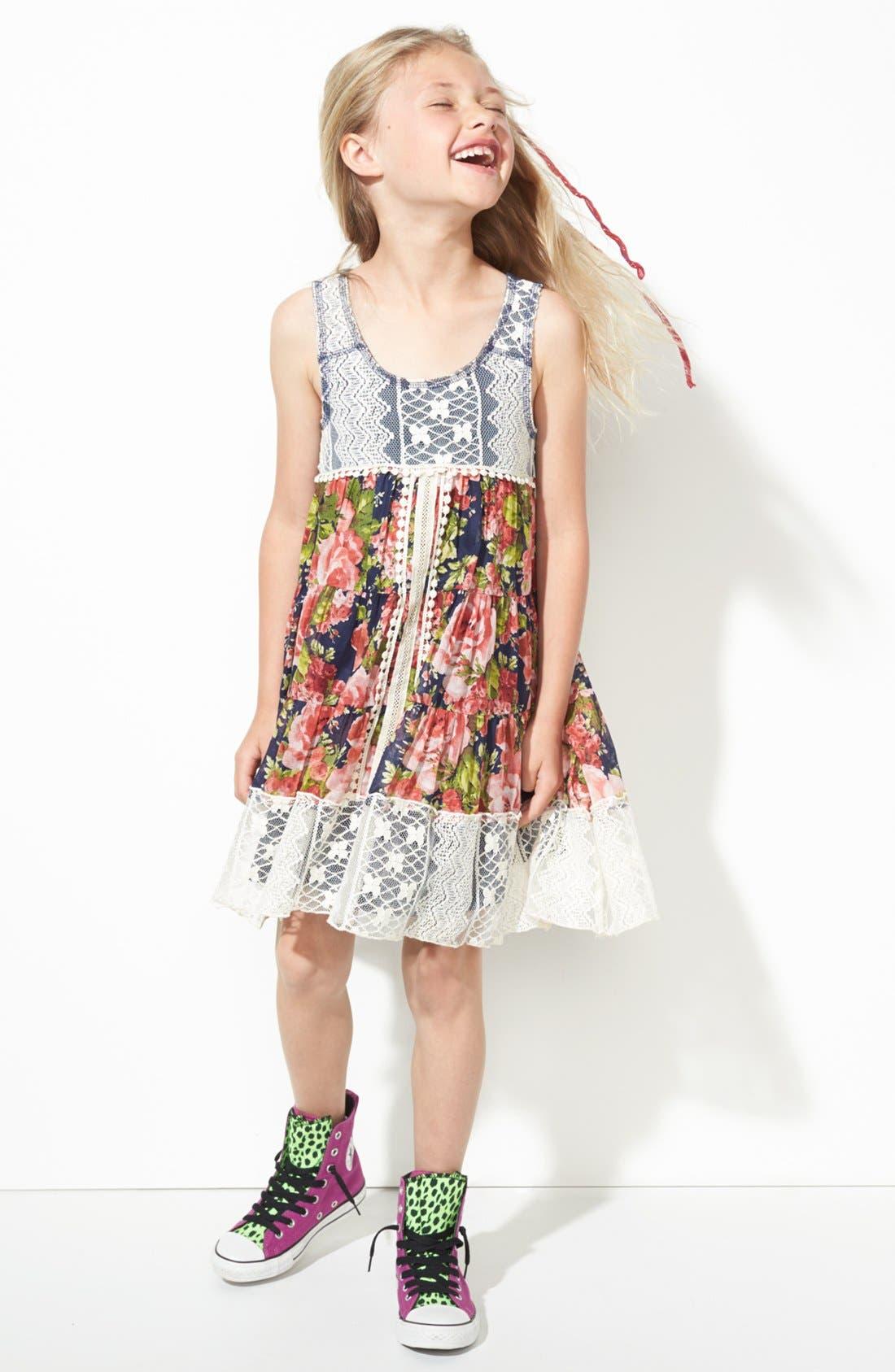 Main Image - Truly Me Floral Dress (Little Girls & Big Girls)