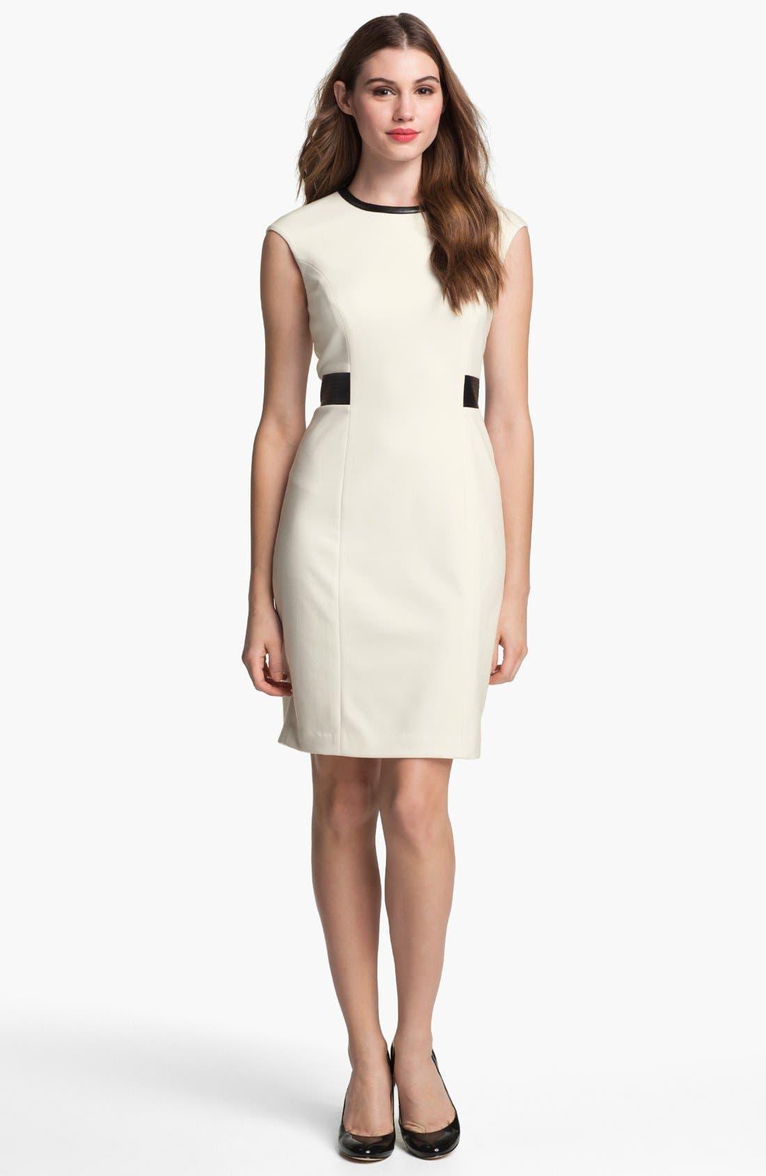 Alternate Image 4  - Calvin Klein Faux Leather Trim Ponte Sheath Dress (Online Only)