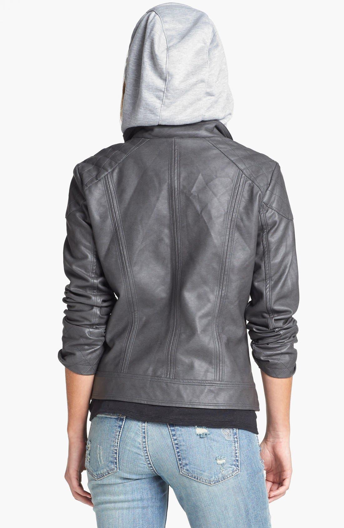 Alternate Image 4  - Jessica Simpson 'Heathcliff' Hooded Faux Leather Jacket
