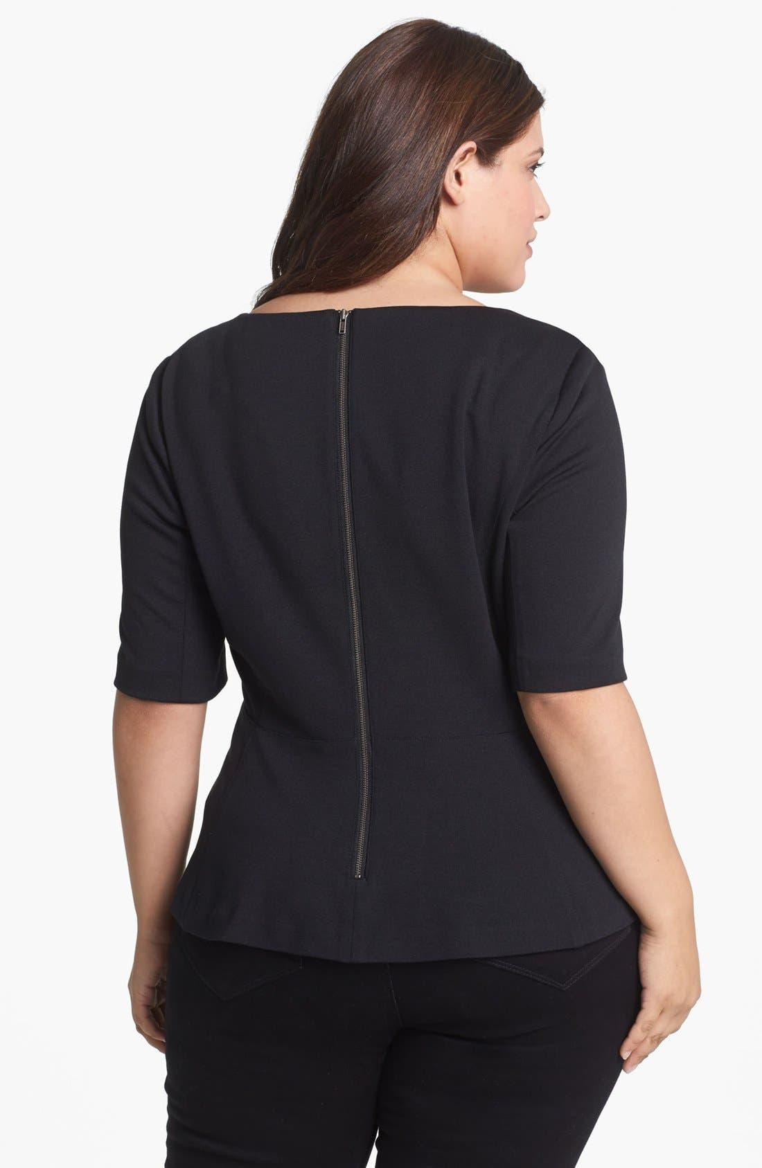 Alternate Image 2  - Sejour Faux Leather Front Peplum Top (Plus Size)