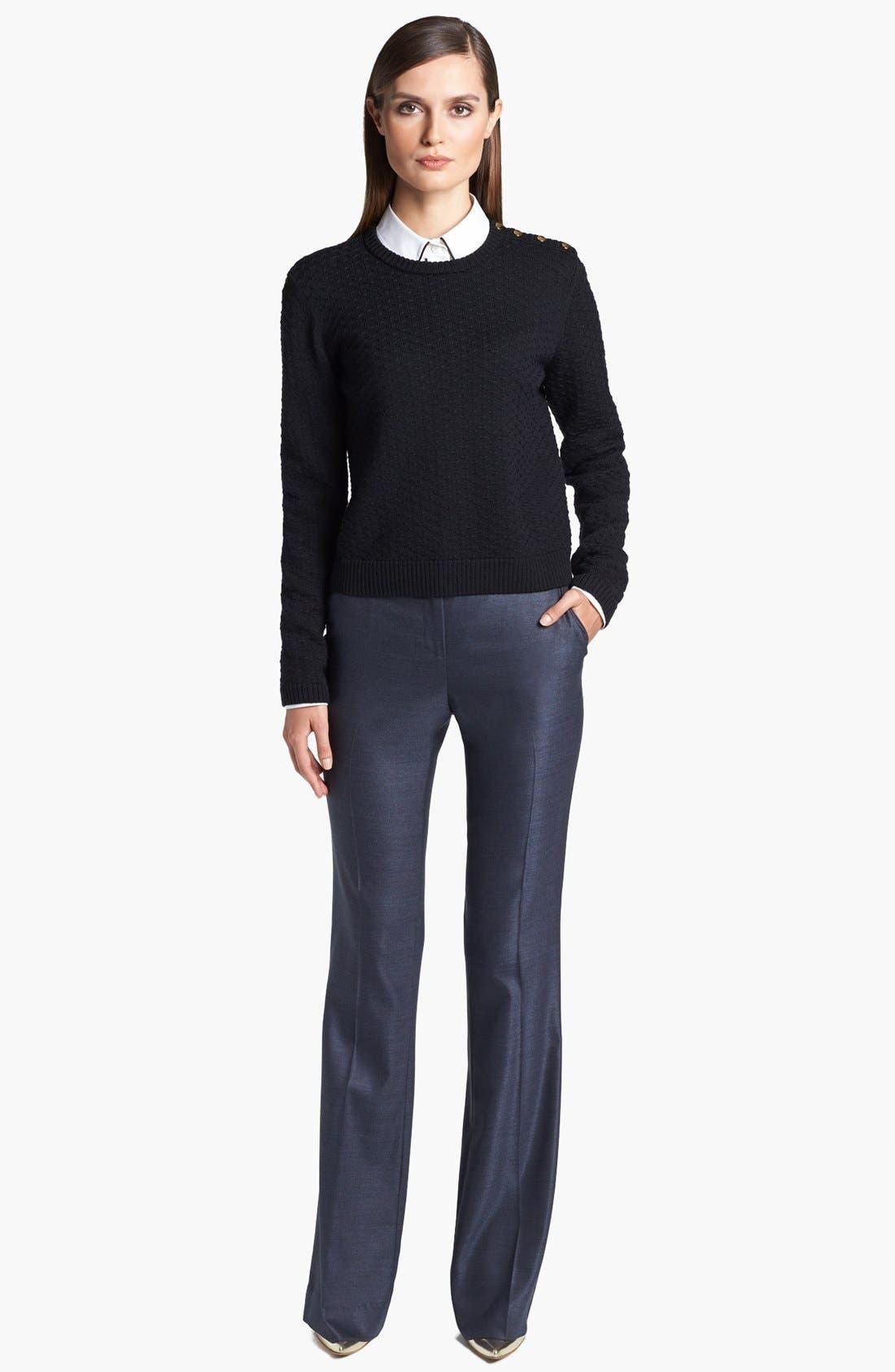 Alternate Image 2  - St. John Yellow Label Shoulder Snap Eyelet Knit Sweater