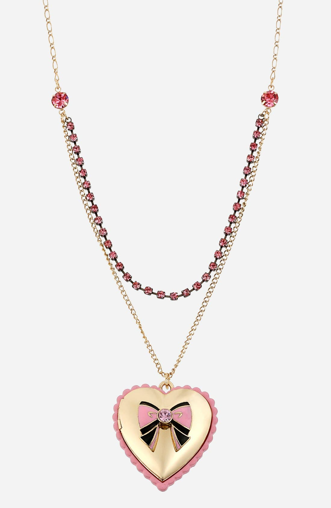 Main Image - Betsey Johnson 'Paris' Heart & Bow Pendant Necklace