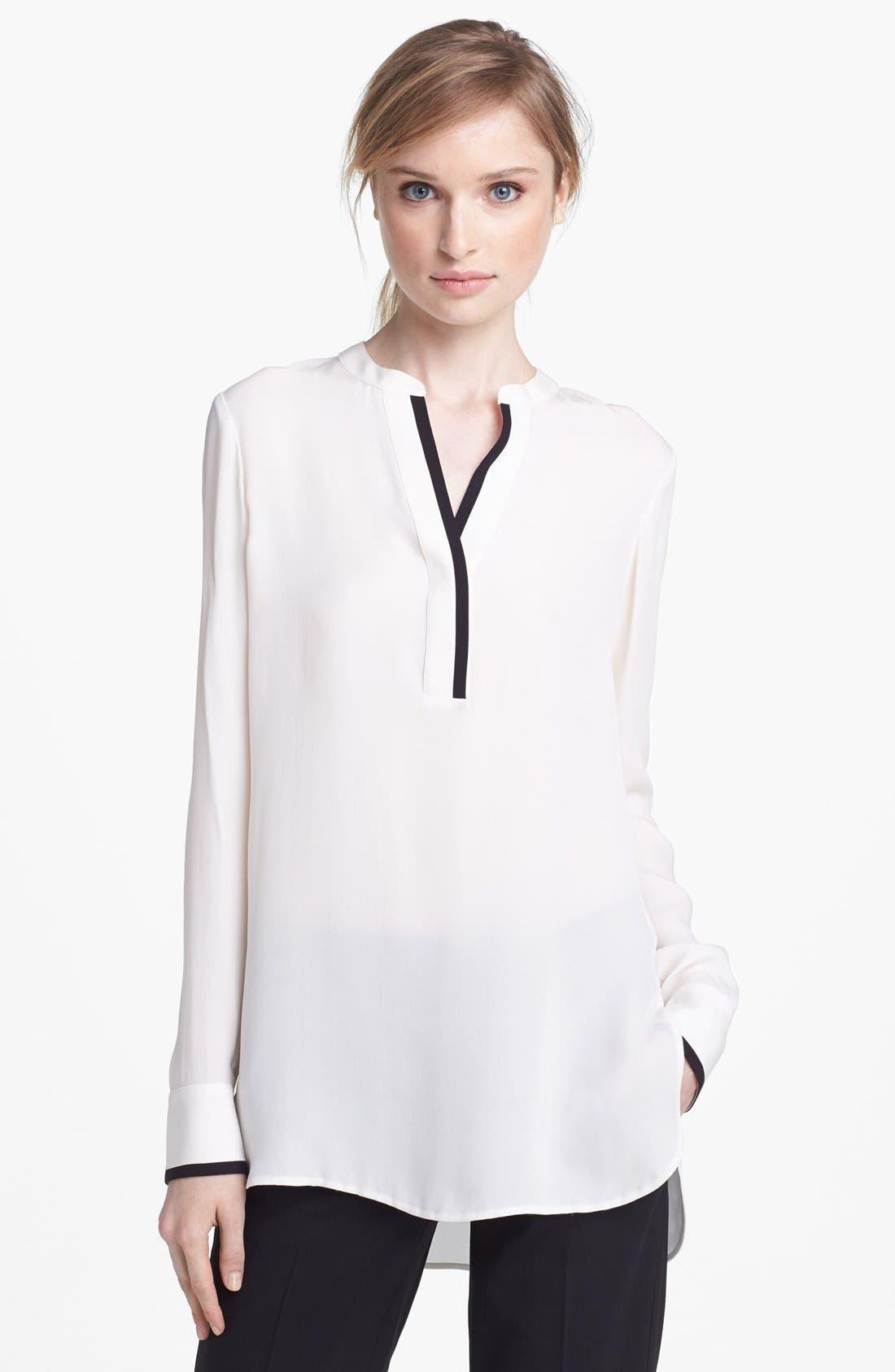 Alternate Image 1 Selected - Vince Long Sleeve Contrast Placket Silk Blouse