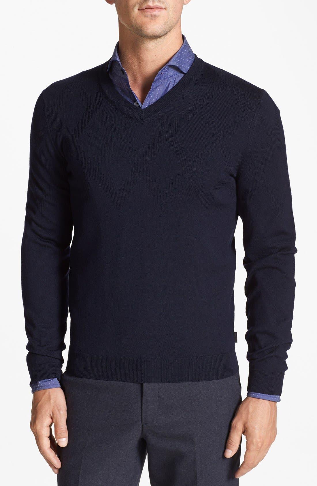 Alternate Image 1 Selected - BOSS HUGO BOSS 'Miles' Merino Wool Sweater