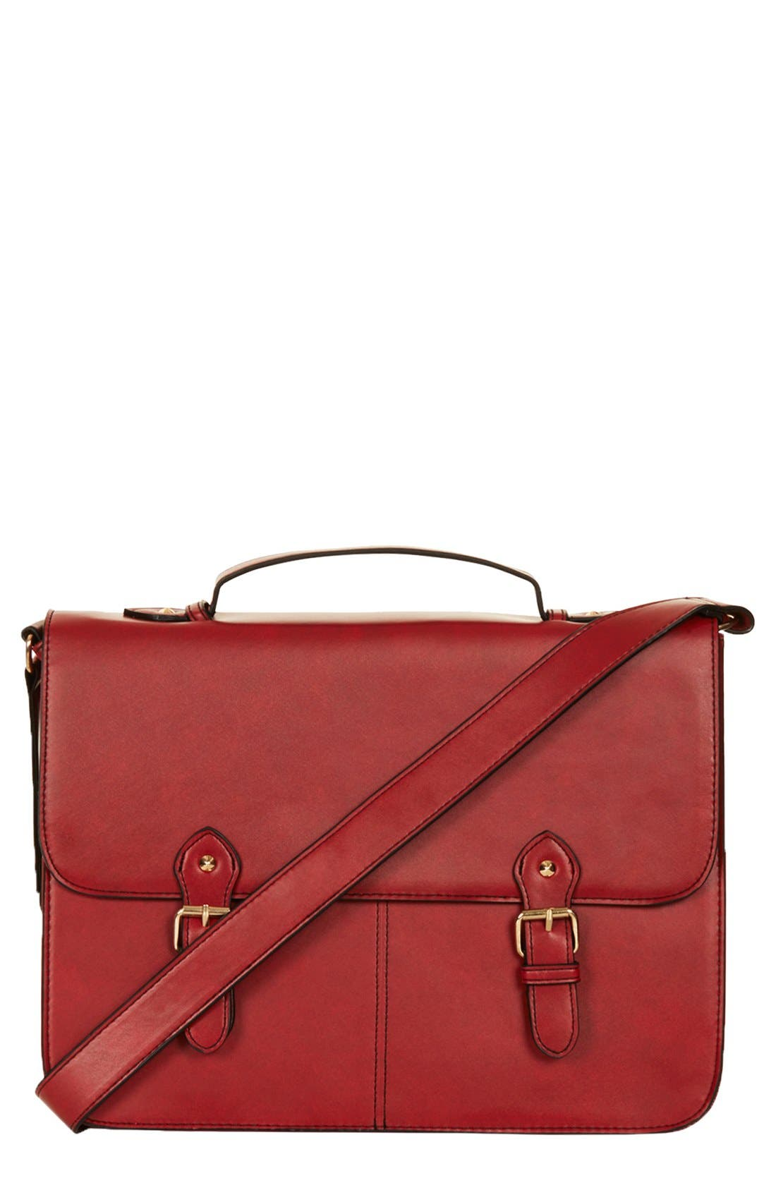 Alternate Image 1 Selected - Topshop Faux Leather Satchel, Large
