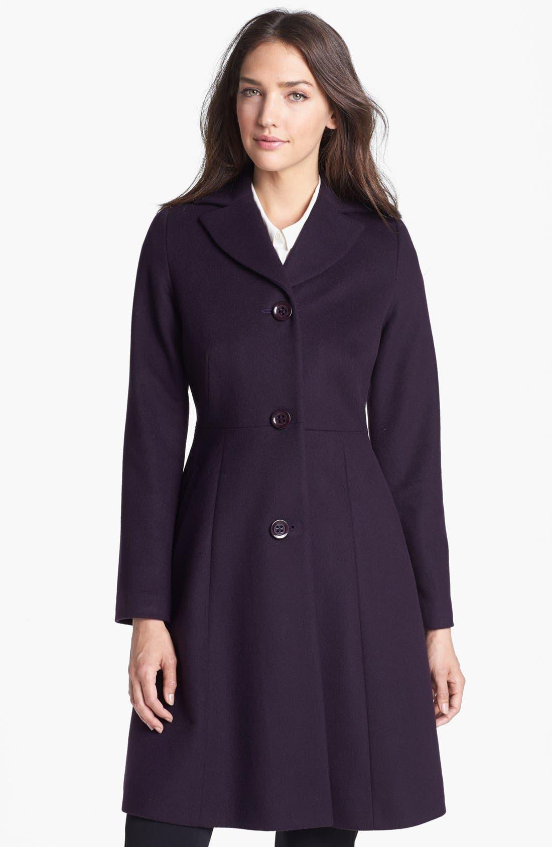Main Image - Kristen Blake Fit & Flare Wool Blend Coat (Nordstrom Exclusive)