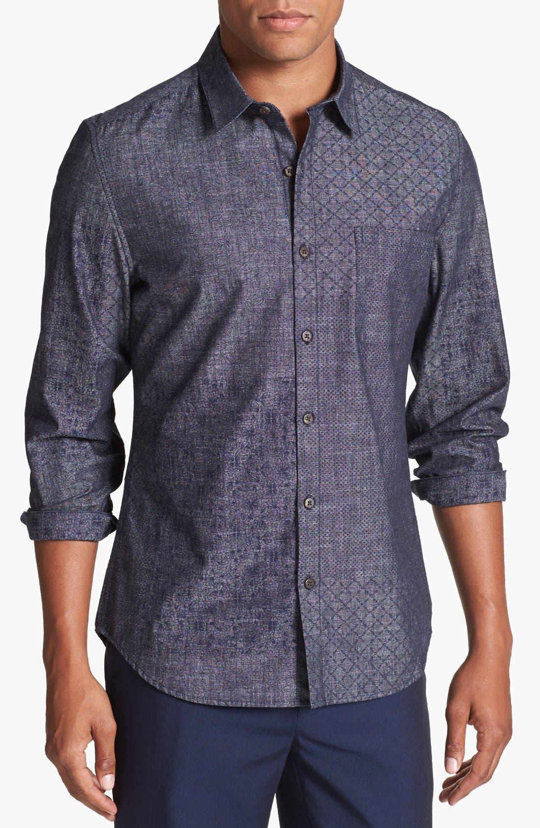 Alternate Image 1 Selected - Topman Mix Print Pattern Chambray Shirt
