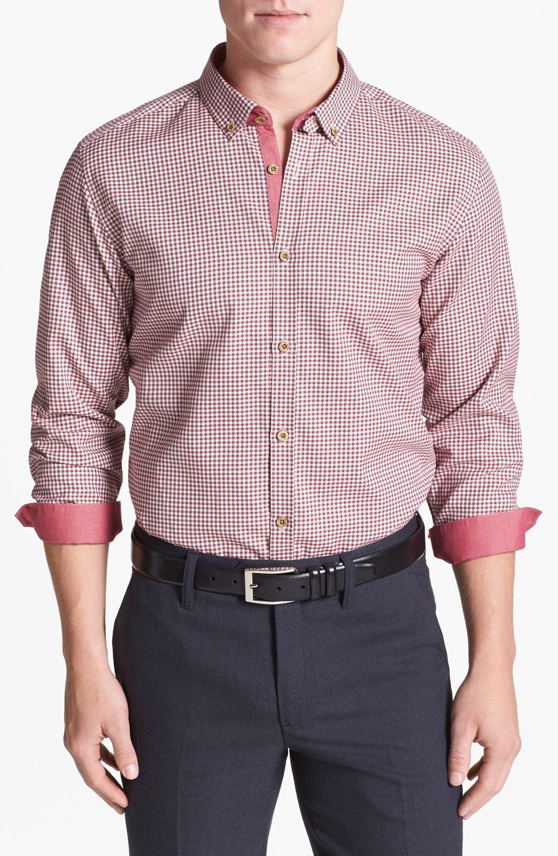 Alternate Image 1 Selected - Ted Baker London 'Flannew' Flannel Trim Sport Shirt