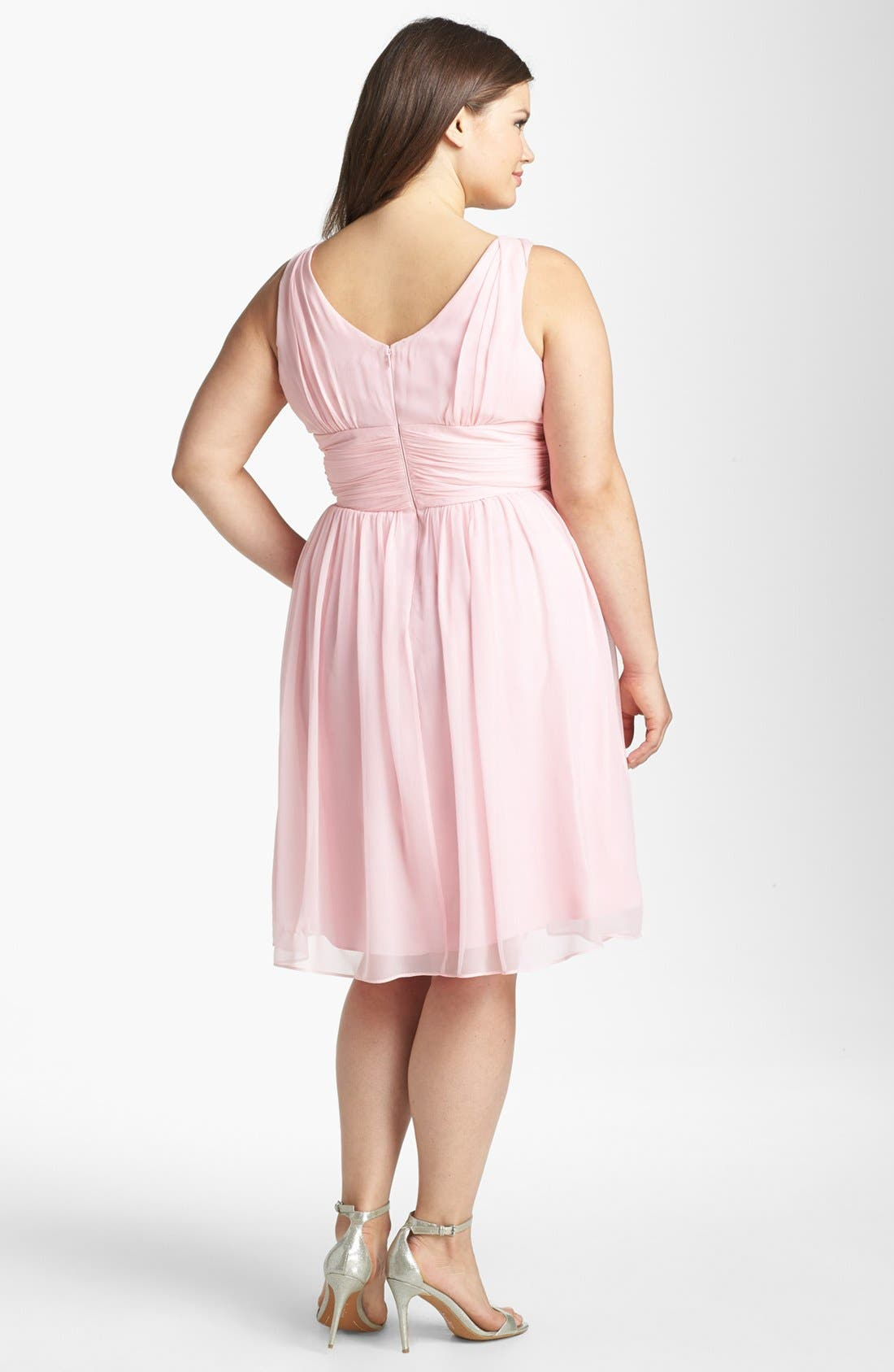 Alternate Image 2  - Donna Morgan 'Jessie' Twist Waist Chiffon Fit & Flare Dress (Plus Size)