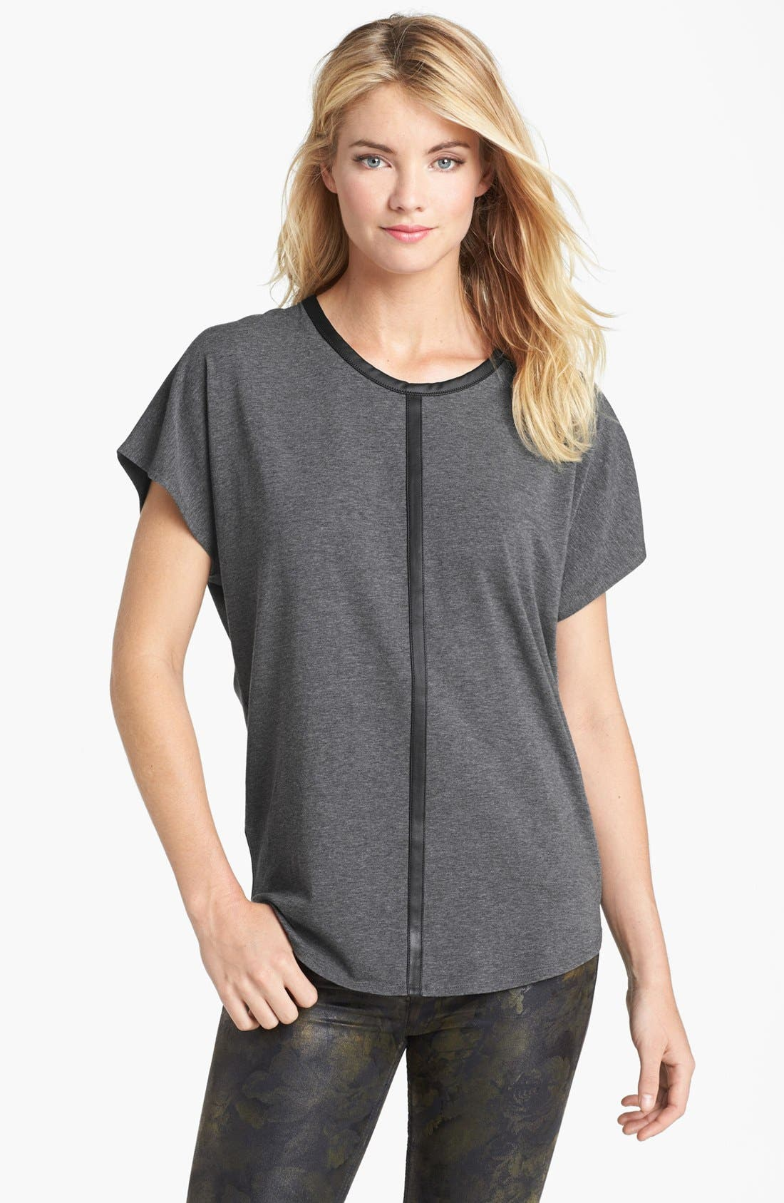 Main Image - Two by Vince Camuto Faux Leather Trim Slouchy Tee