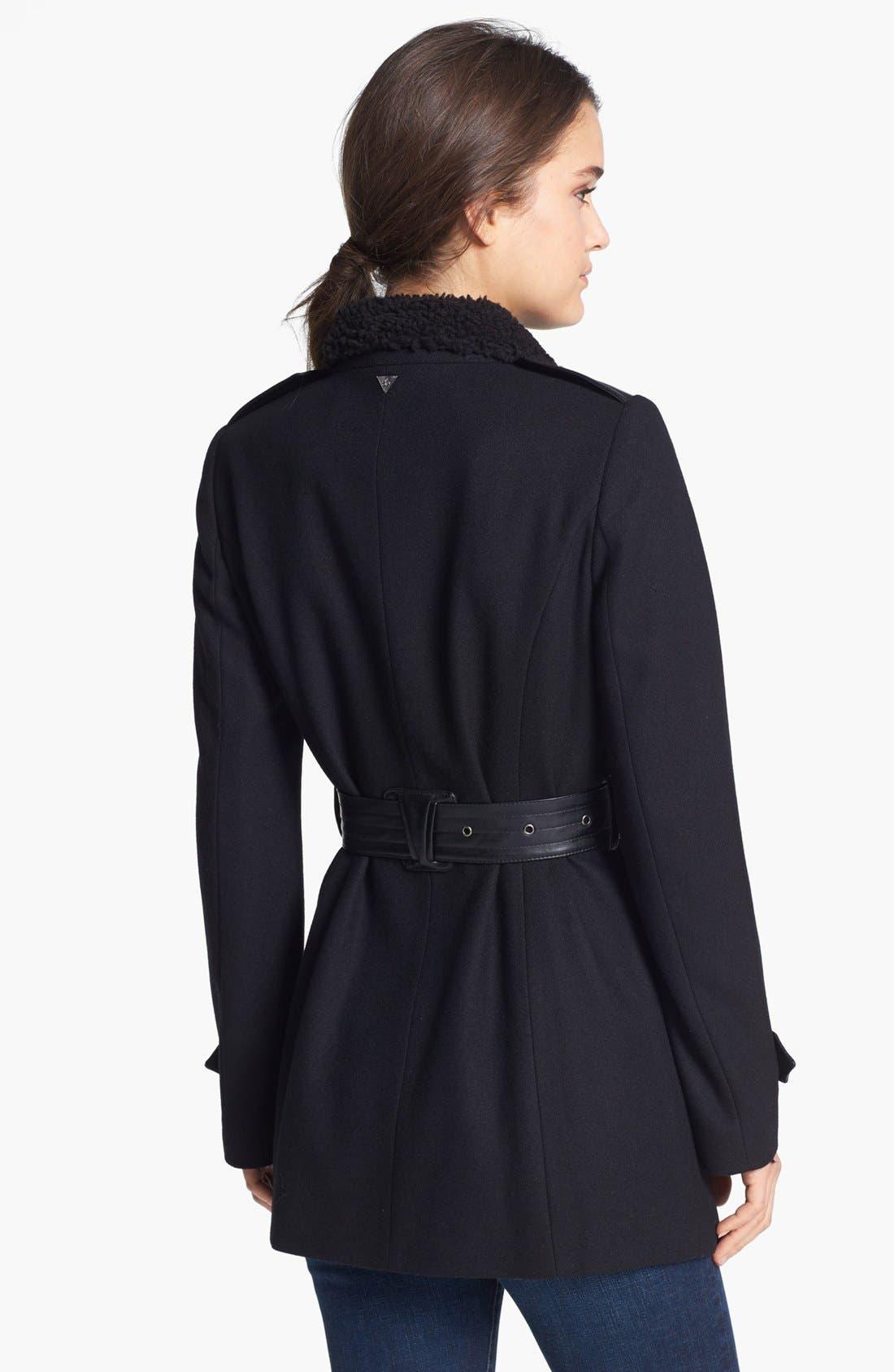 Alternate Image 2  - Sam Edelman 'Ana'  Faux Shearling Collar Trench Coat