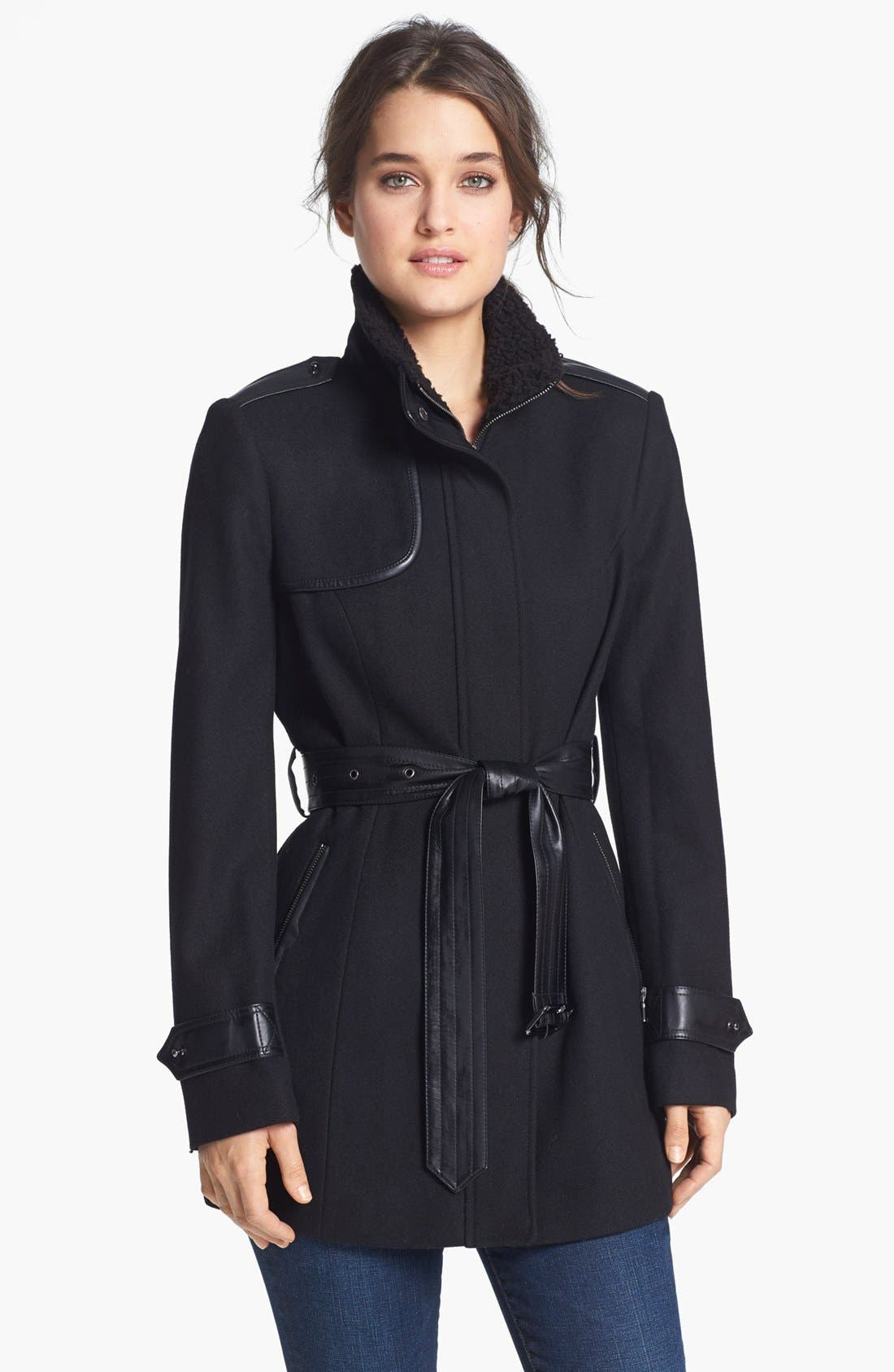 Alternate Image 1 Selected - Sam Edelman 'Ana'  Faux Shearling Collar Trench Coat