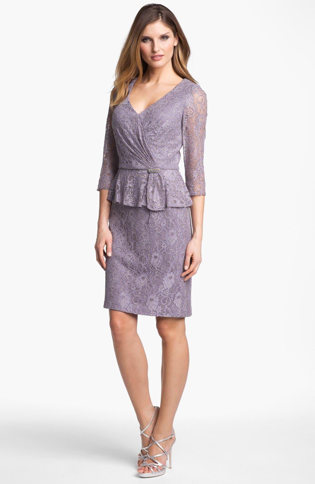 Main Image - Patra Embellished Lace Peplum Dress