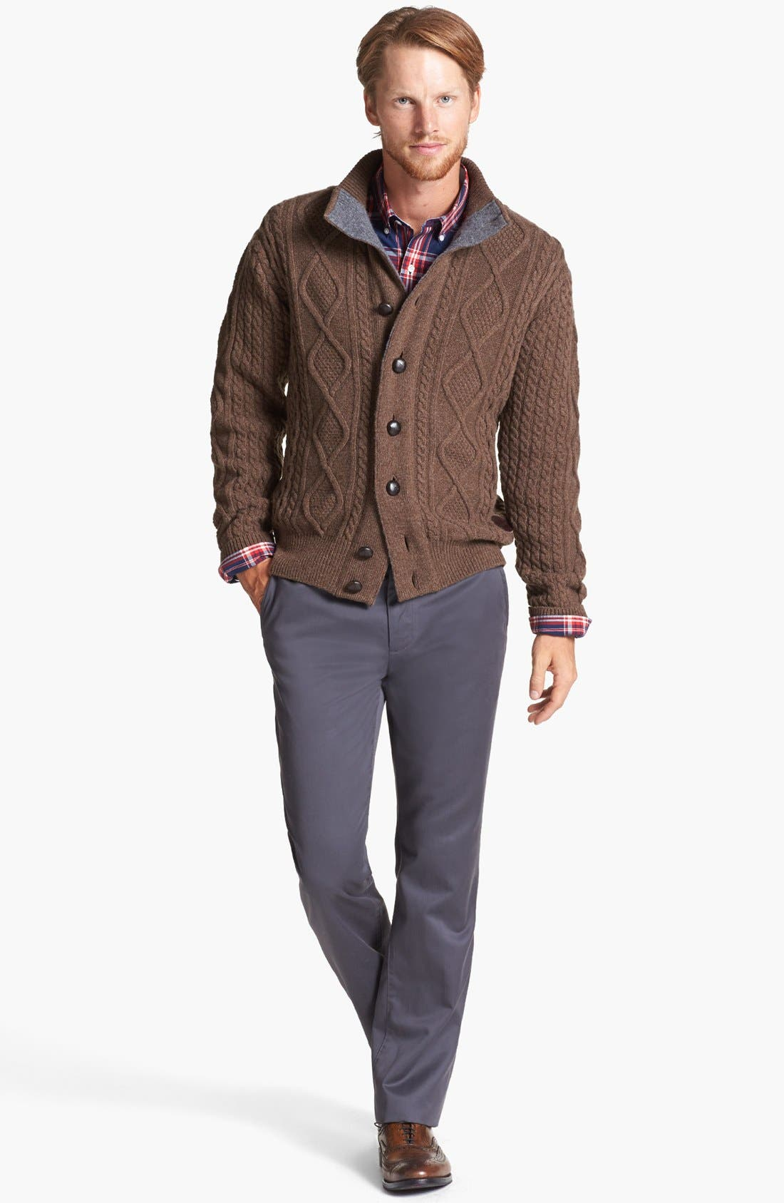 Alternate Image 2  - Barbour Cable Knit Button Sweater & Bonobos Straight Leg Chinos