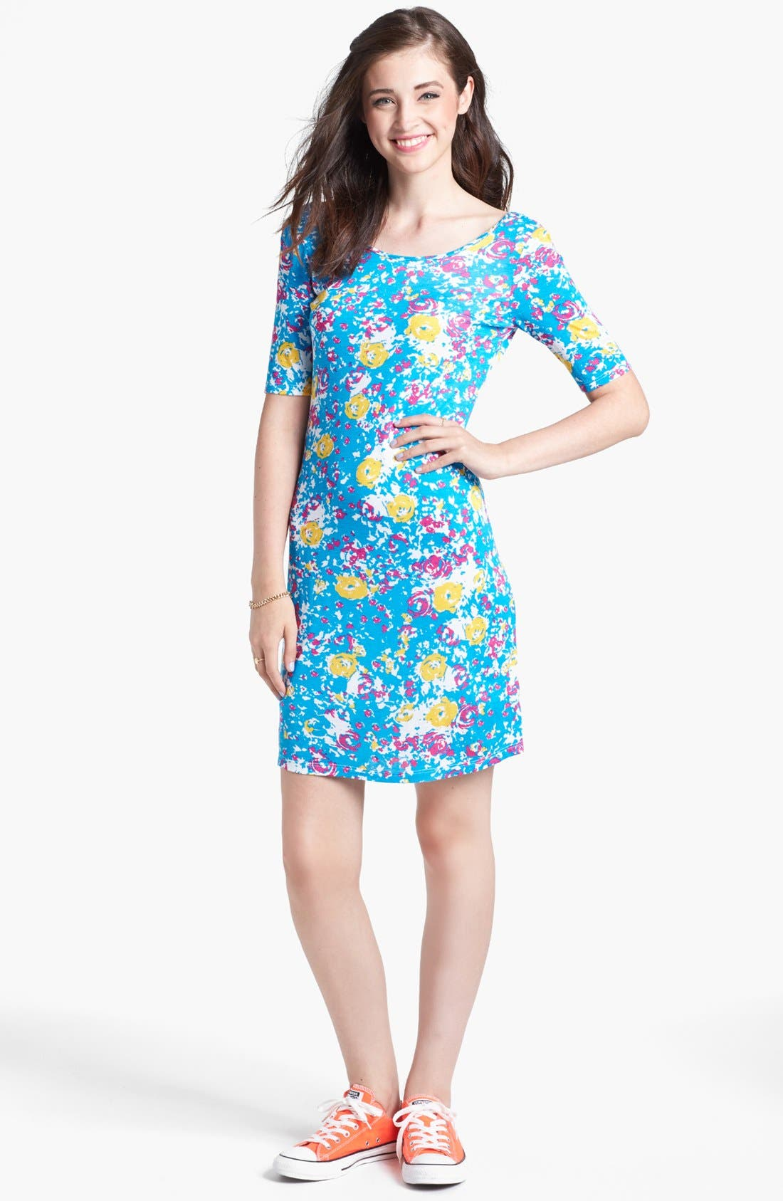 Alternate Image 1 Selected - Minty Print Body-Con Dress (Juniors)