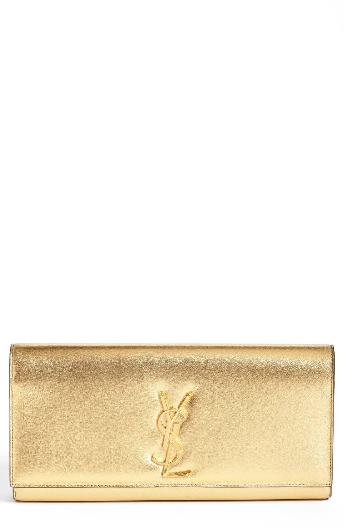 'Cassandre' Leather Clutch,                             Main thumbnail 1, color,                             Vermeil Oro