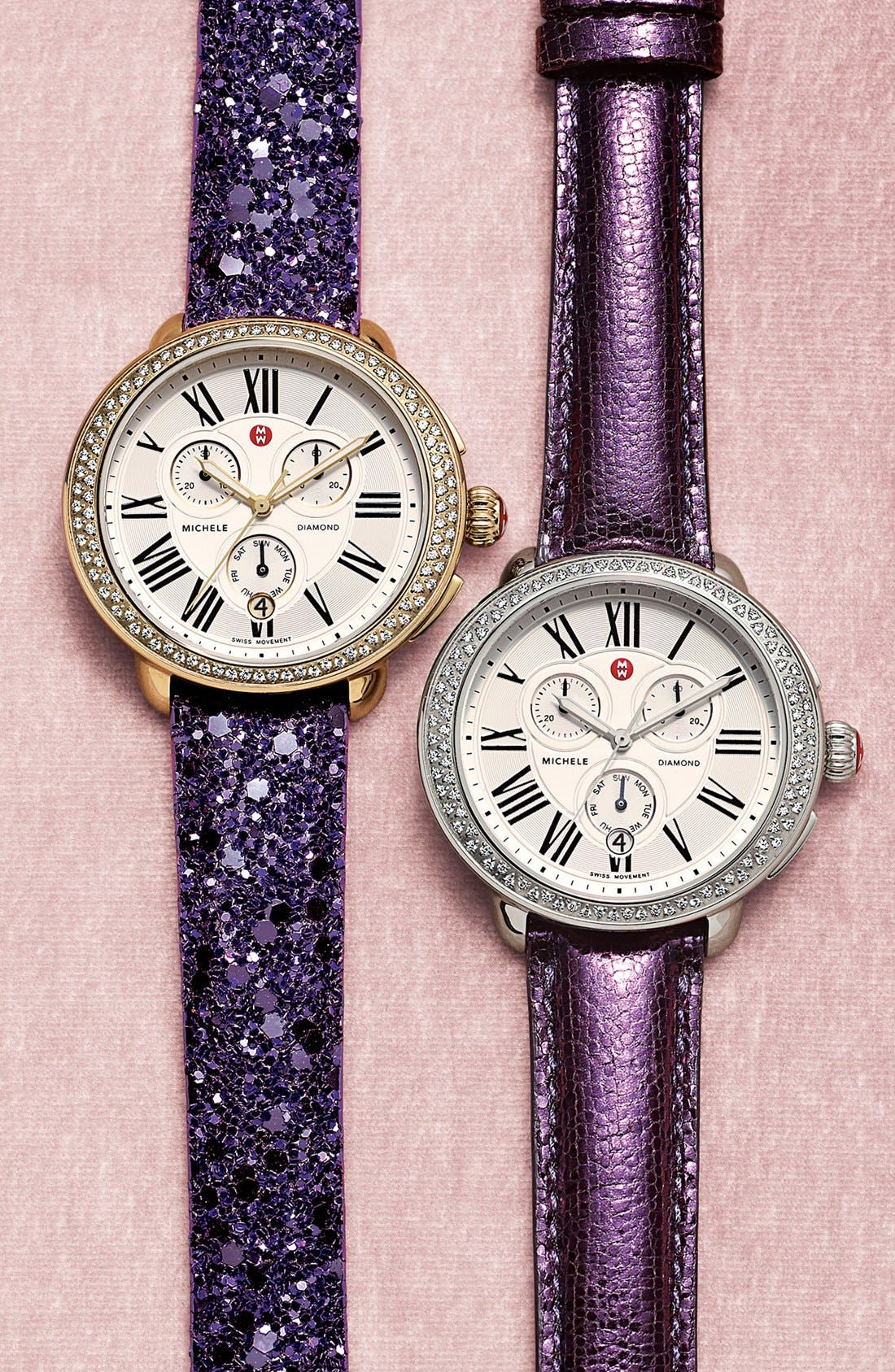 Alternate Image 4  - MICHELE 18mm Glitter Watch Strap