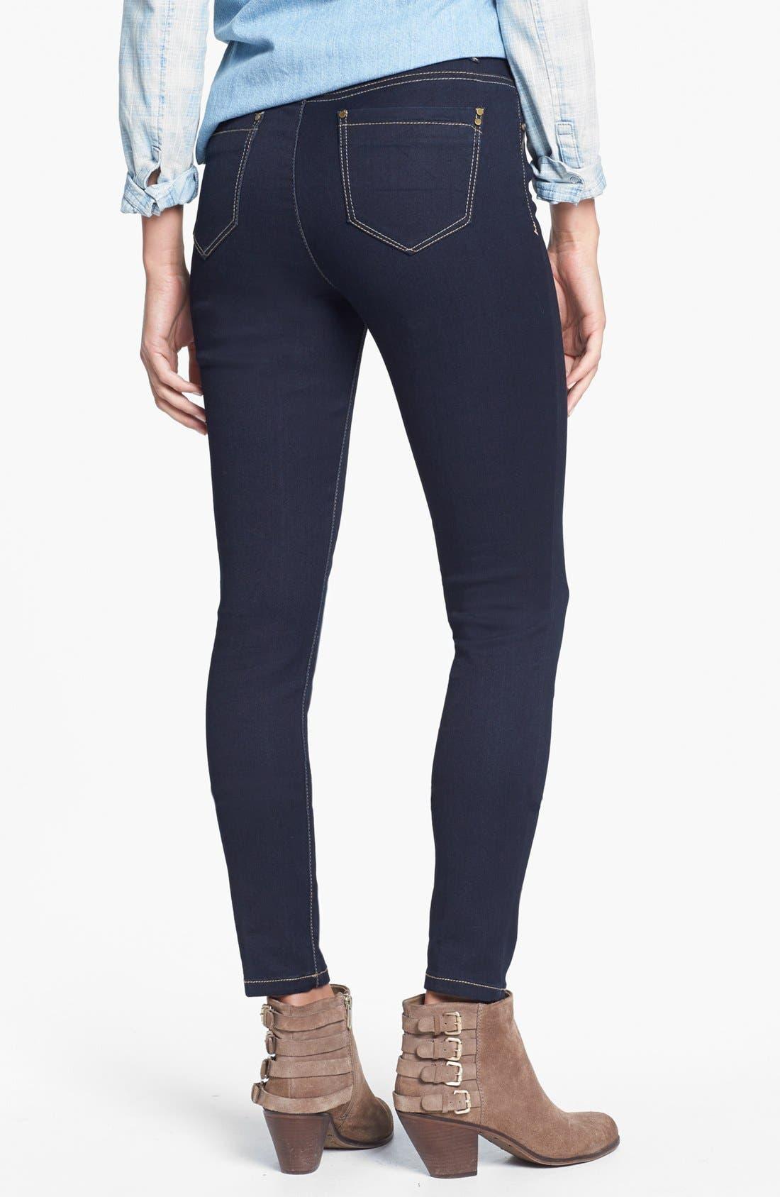 Alternate Image 2  - Jolt High Waist Skinny Jeans (Dark) (Juniors)