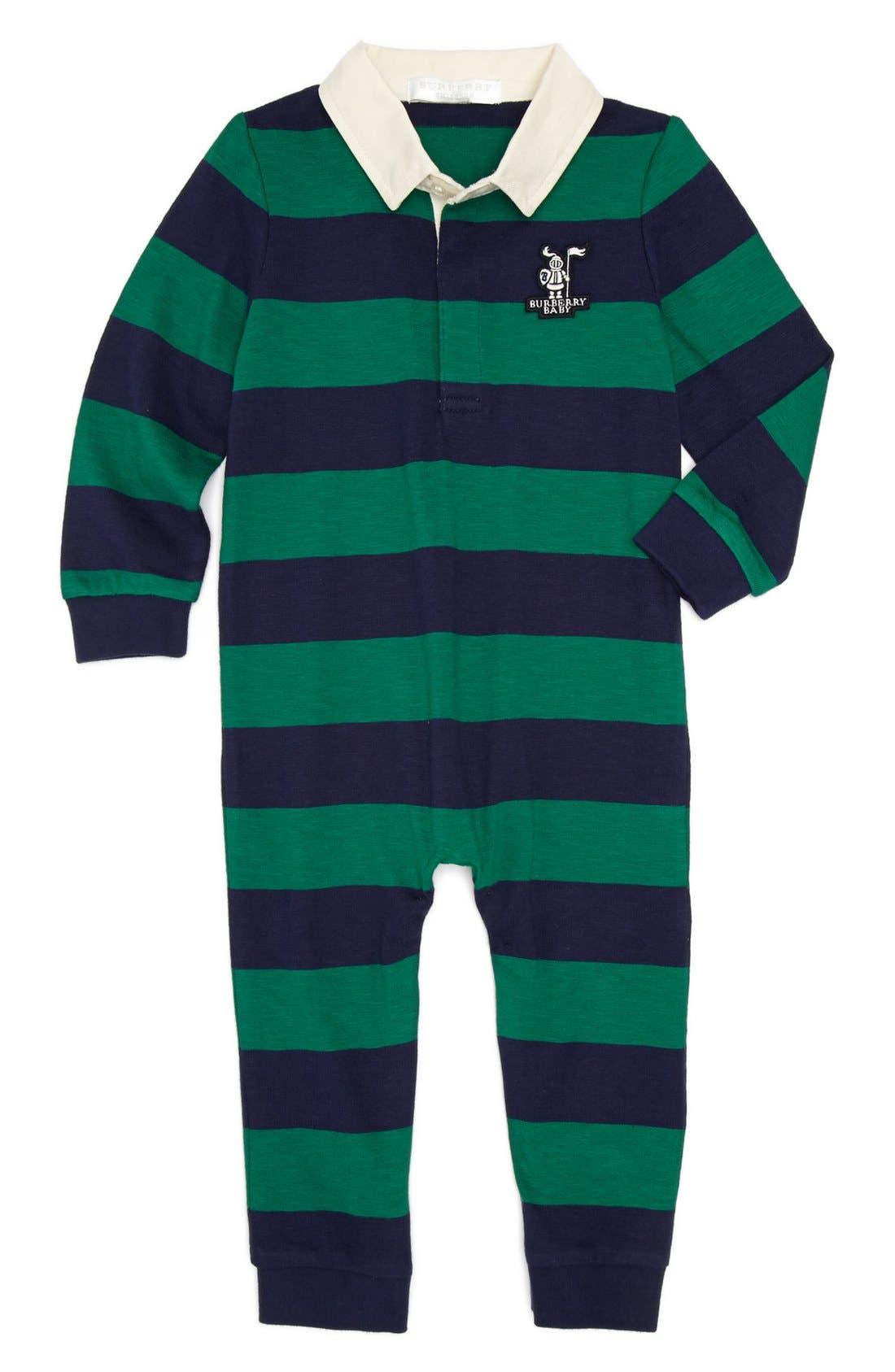 Main Image - Burberry 'Dave' Stripe Romper (Baby)