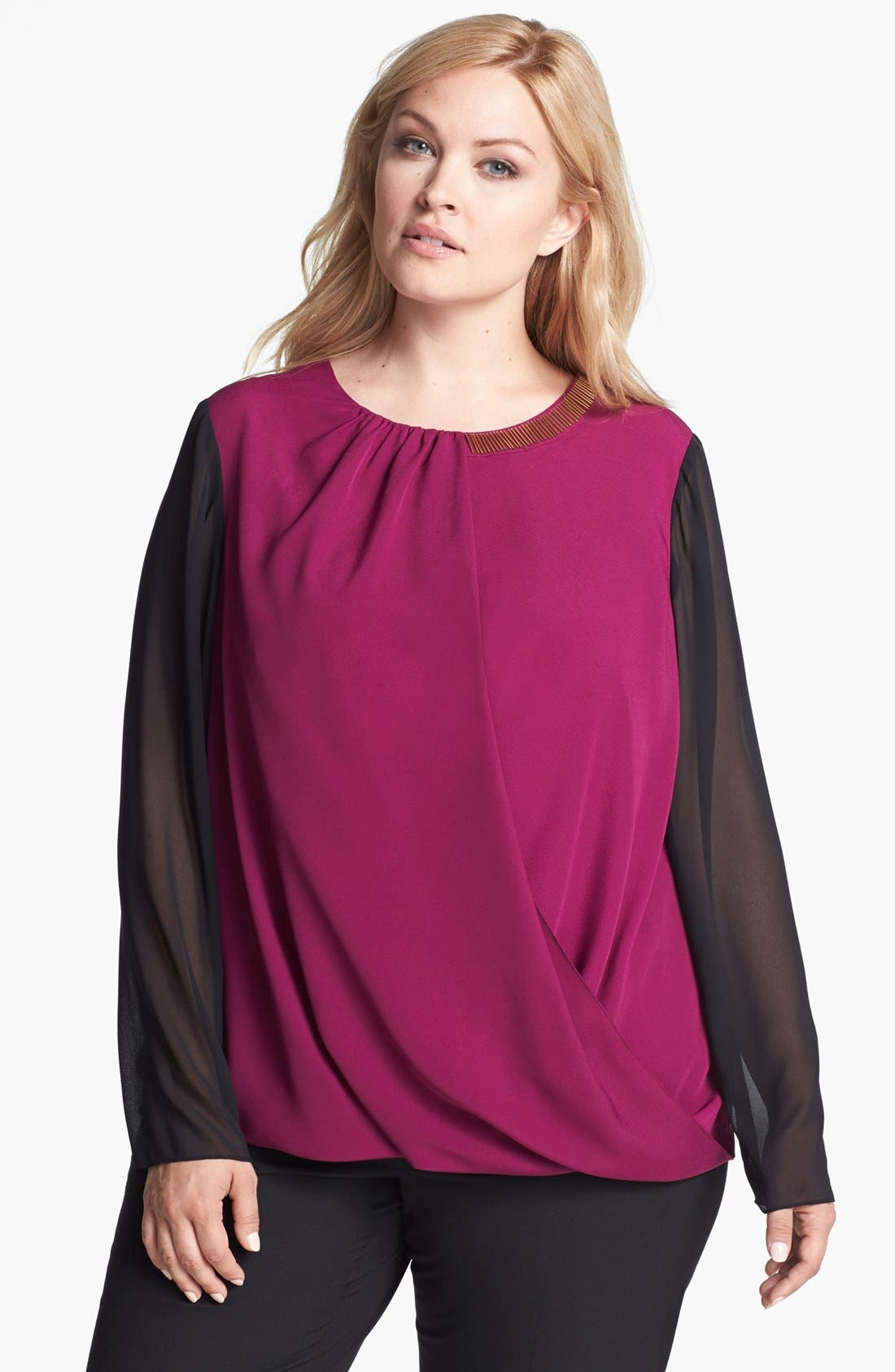 Alternate Image 1 Selected - DKNYC Embellished Faux Wrap Blouse (Plus Size)